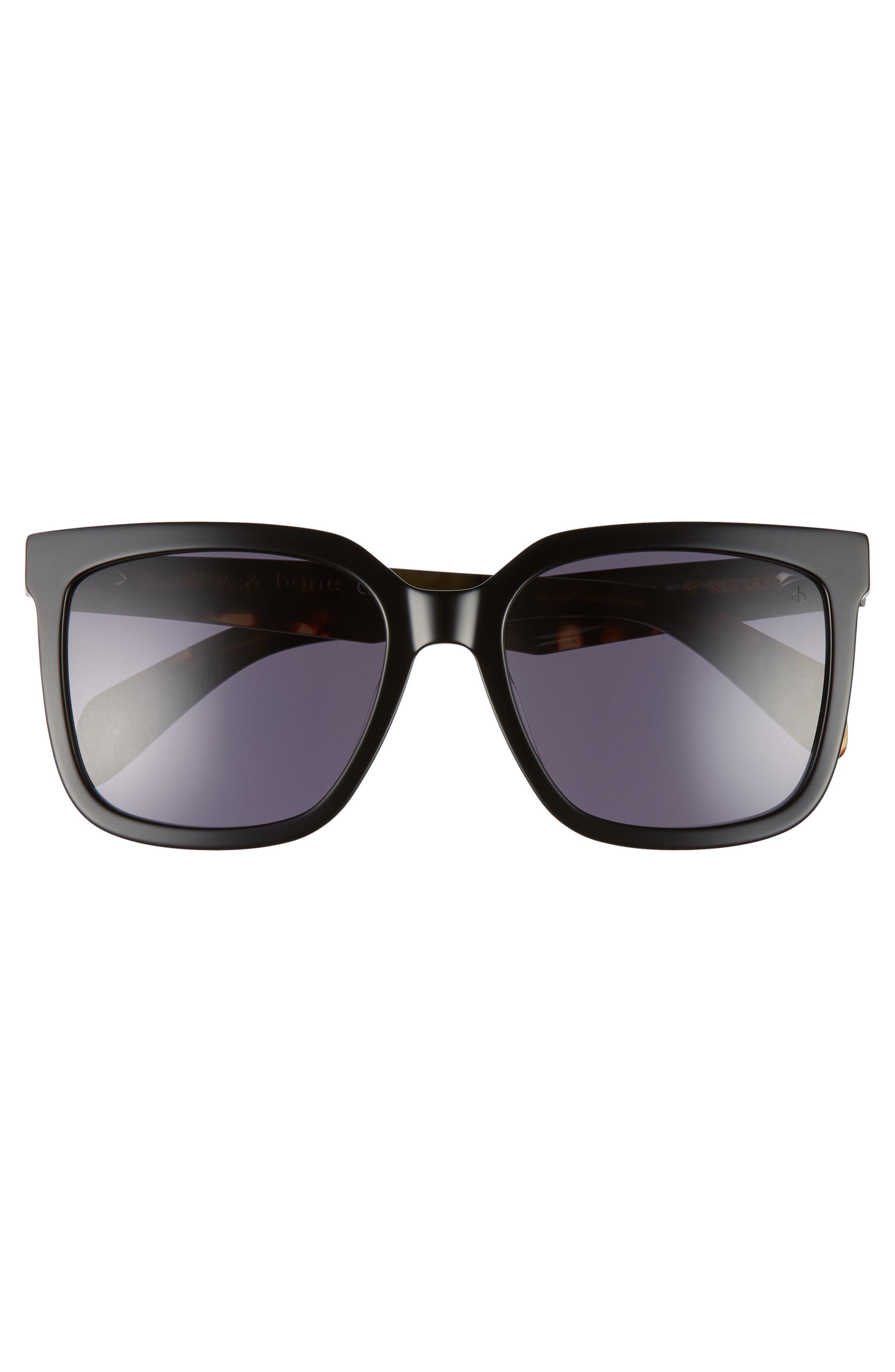 56mm Square Sunglasses,                             Alternate thumbnail 3, color,                             BLACK