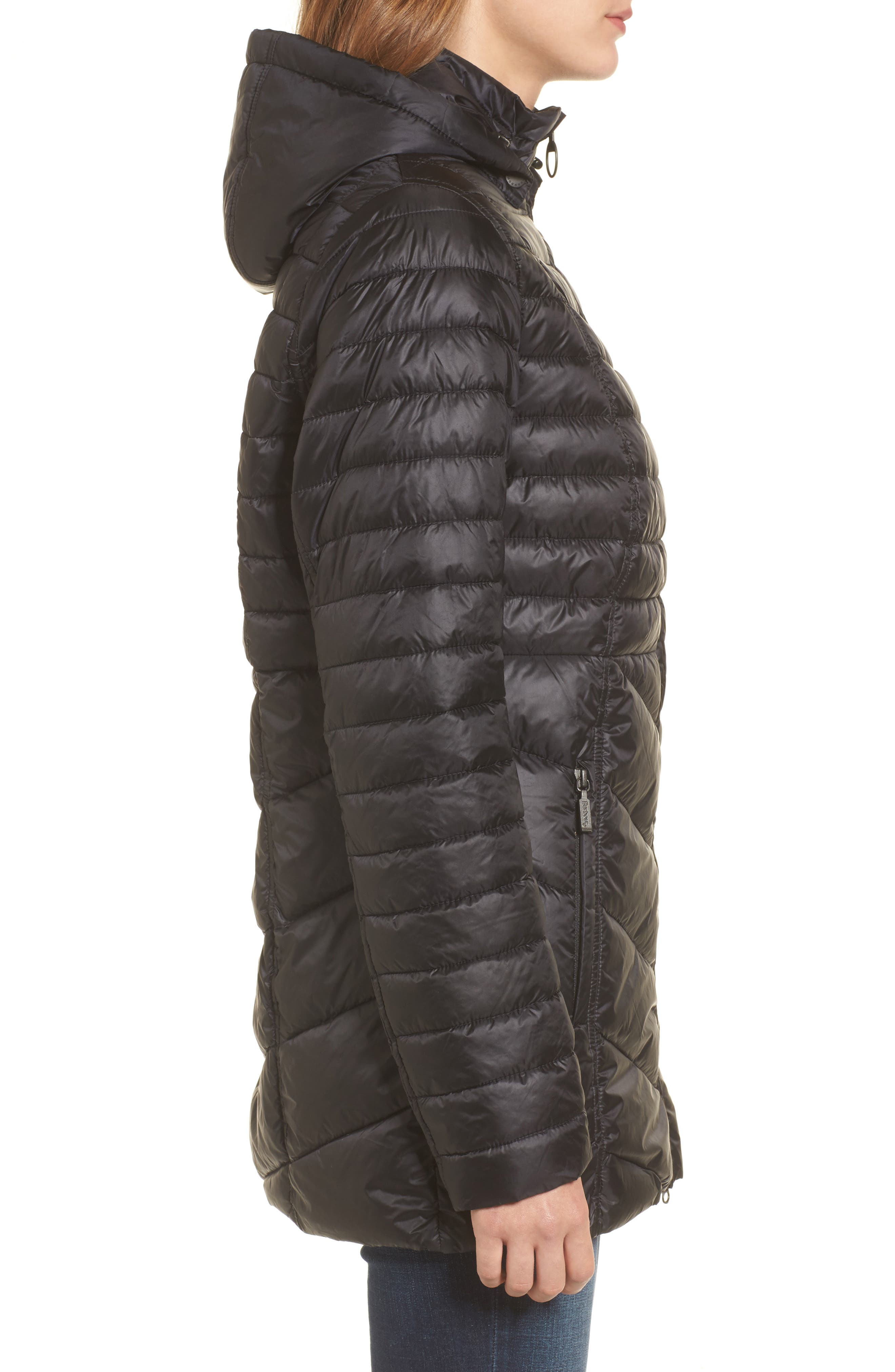 Linton Hooded Water Resistant Quilted Jacket,                             Alternate thumbnail 3, color,                             001