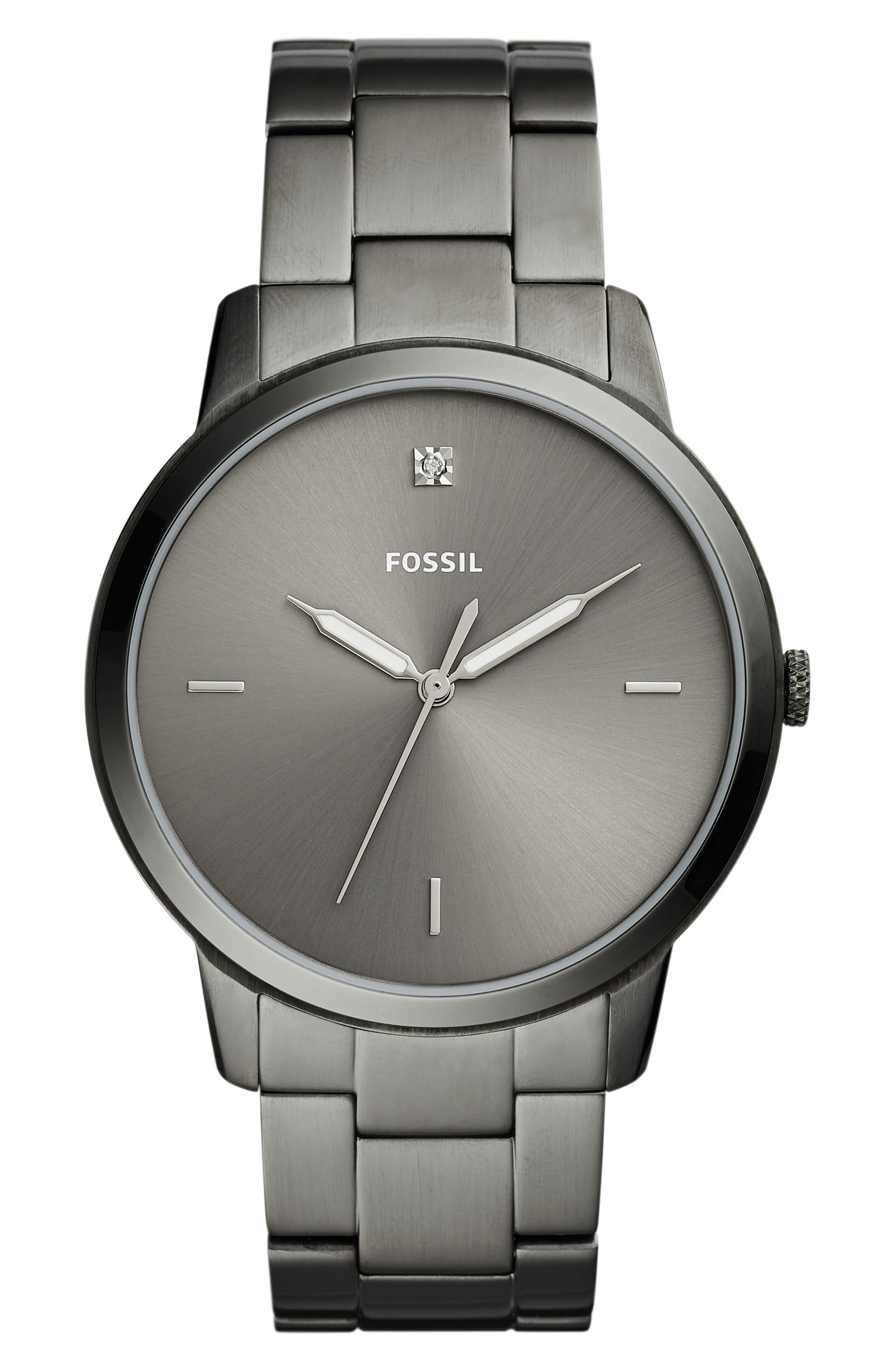 Minimalist Carbon Series Bracelet Watch, 44mm,                             Main thumbnail 1, color,                             GUNMETAL
