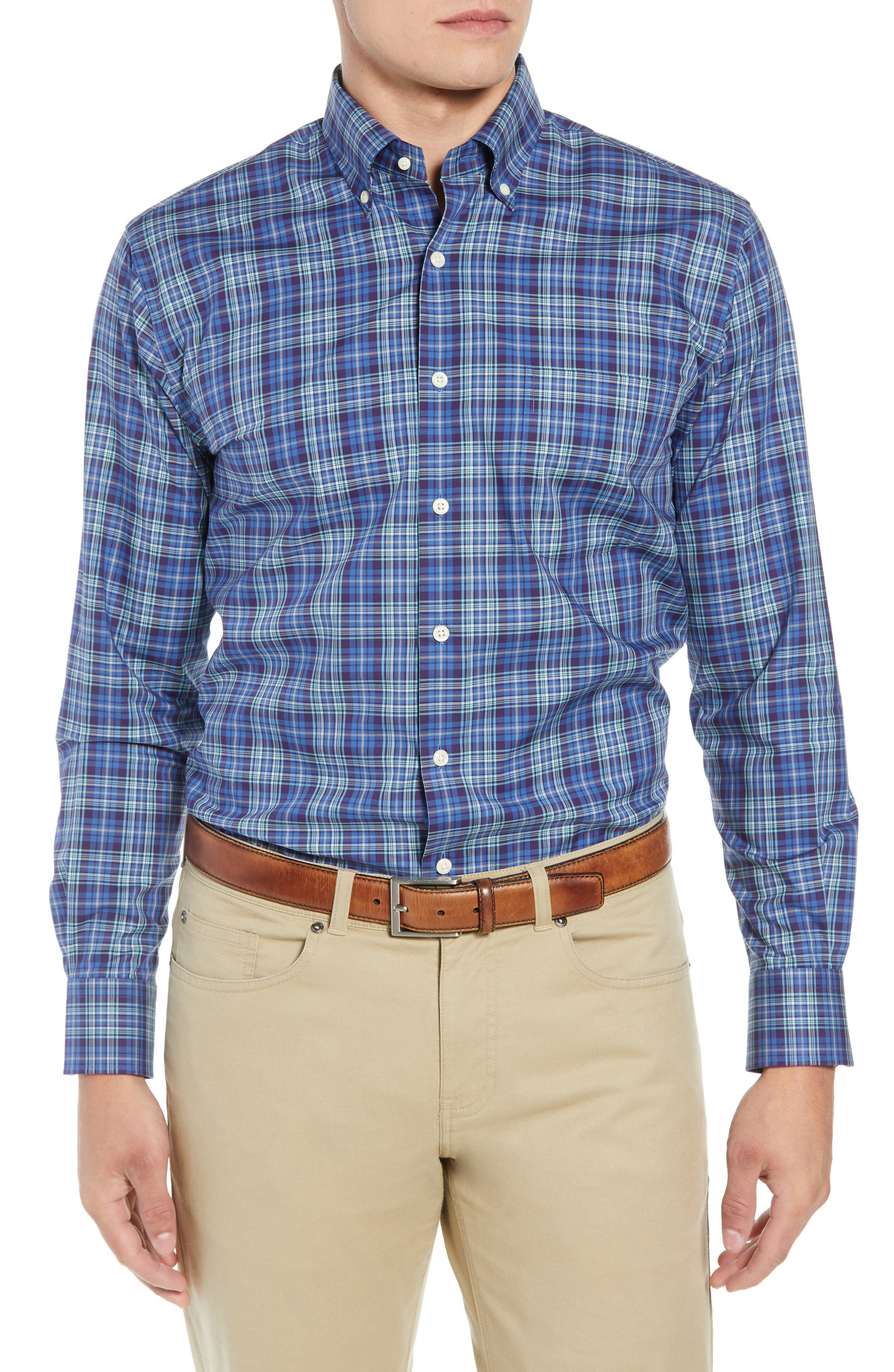 Crown Ease Flatey Island Regular Fit Tartan Plaid Sport Shirt,                         Main,                         color, BLUE