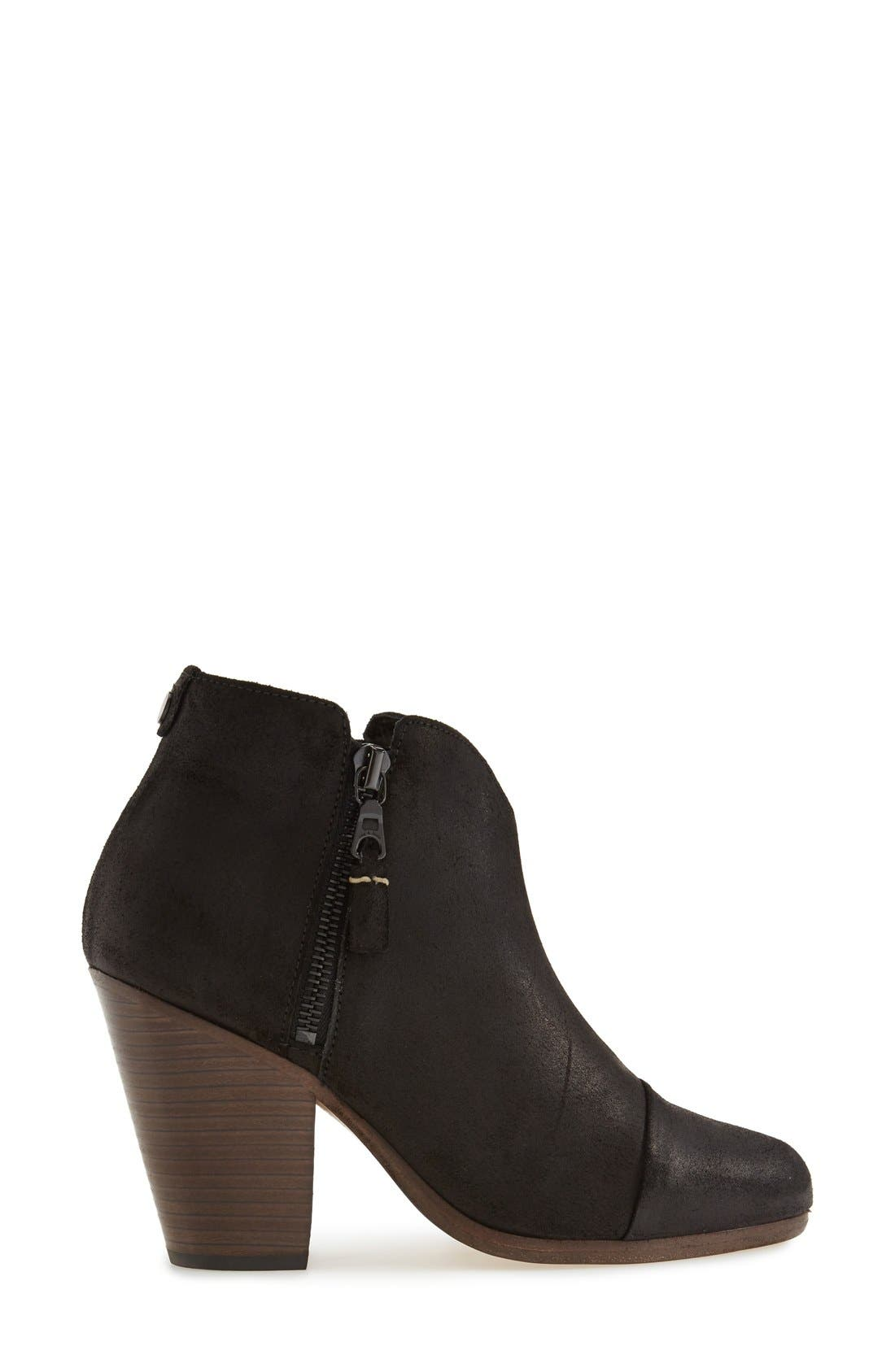 Margot Bootie,                             Alternate thumbnail 8, color,                             BLACK WAXED SUEDE