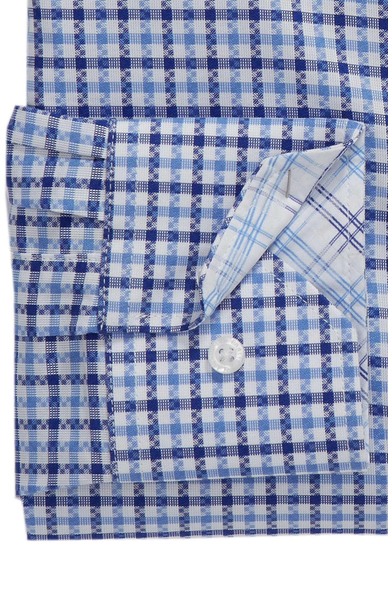 Regular Fit Check Dress Shirt,                             Alternate thumbnail 6, color,                             BLUE
