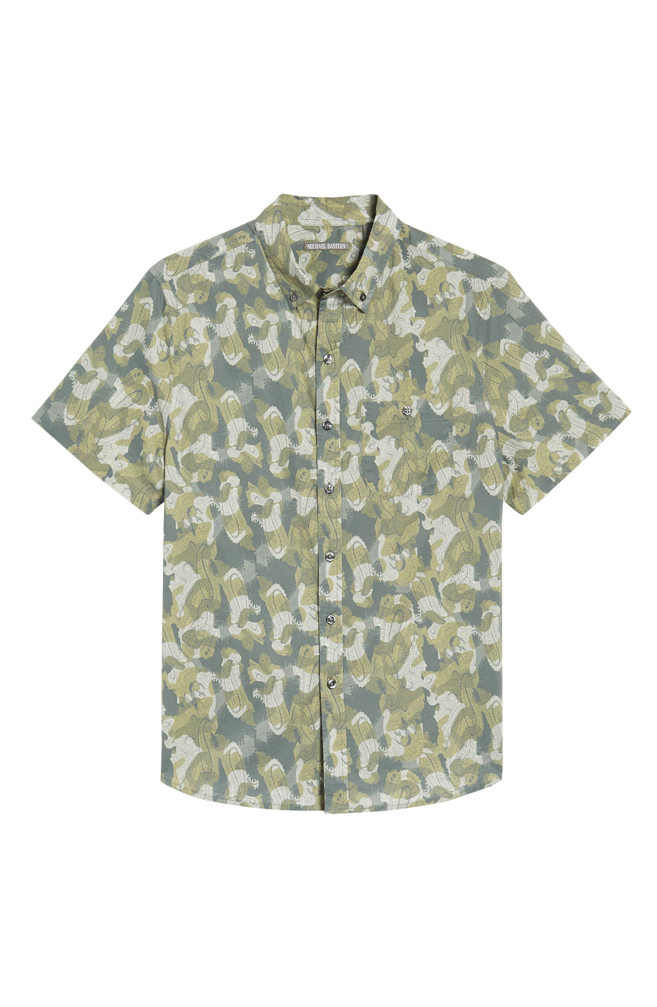 Paisley Print Short Sleeve Sport Shirt,                             Alternate thumbnail 6, color,                             036