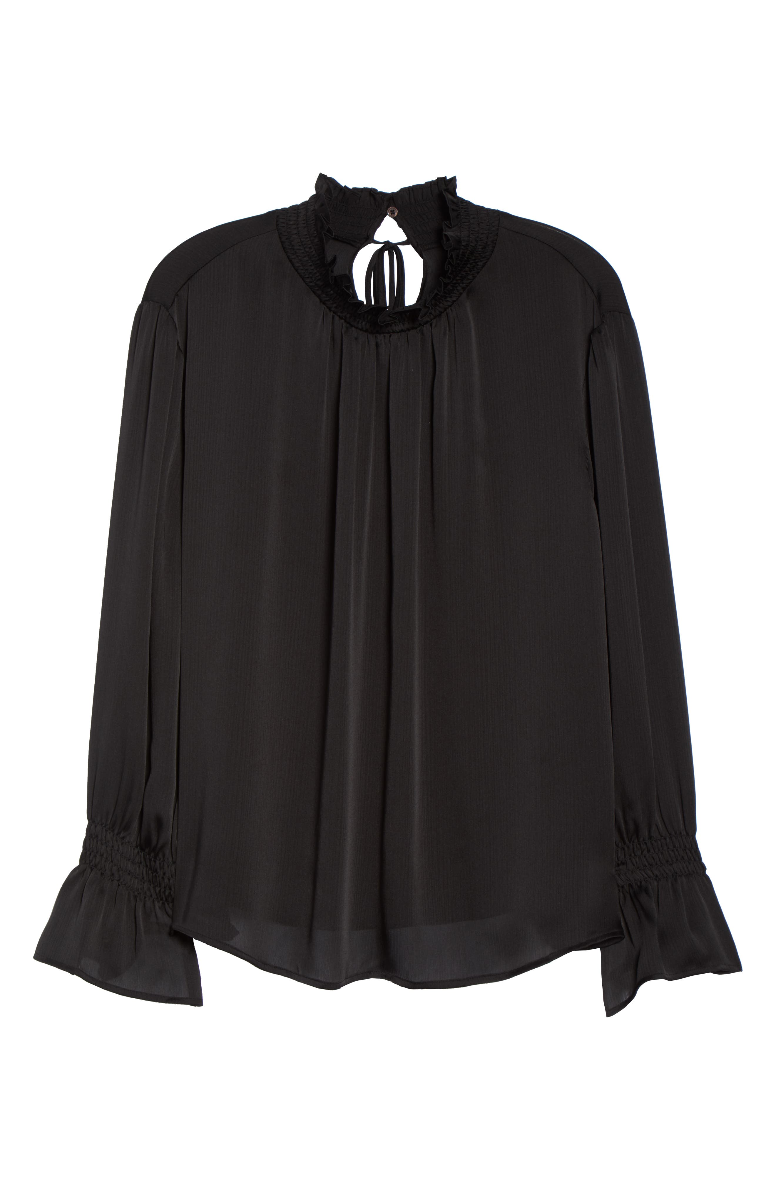 VINCE CAMUTO,                             Flare Tie Cuff Satin Blouse,                             Alternate thumbnail 6, color,                             004