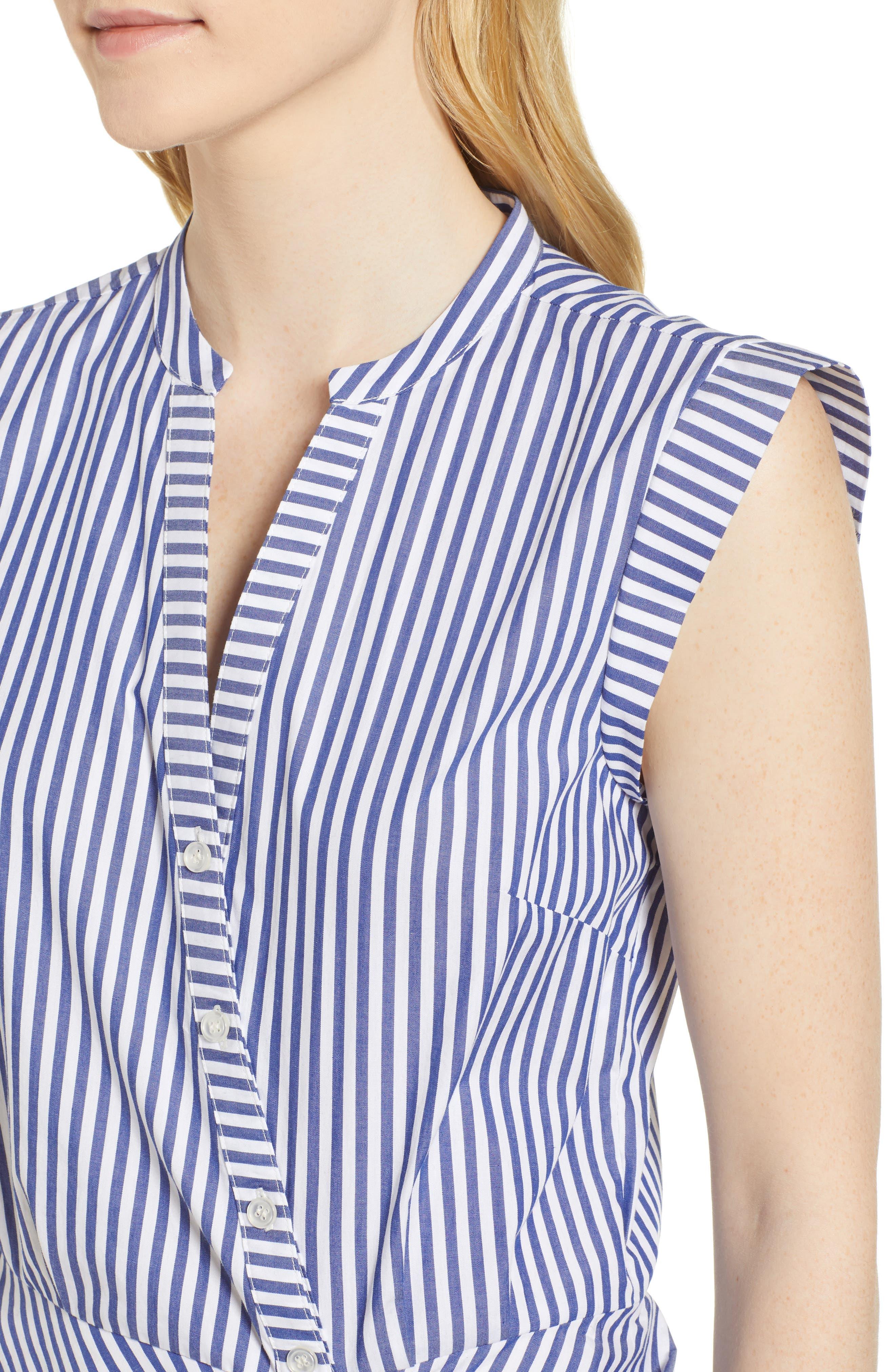 Stripe Ruched Cotton Shirtdress,                             Alternate thumbnail 4, color,