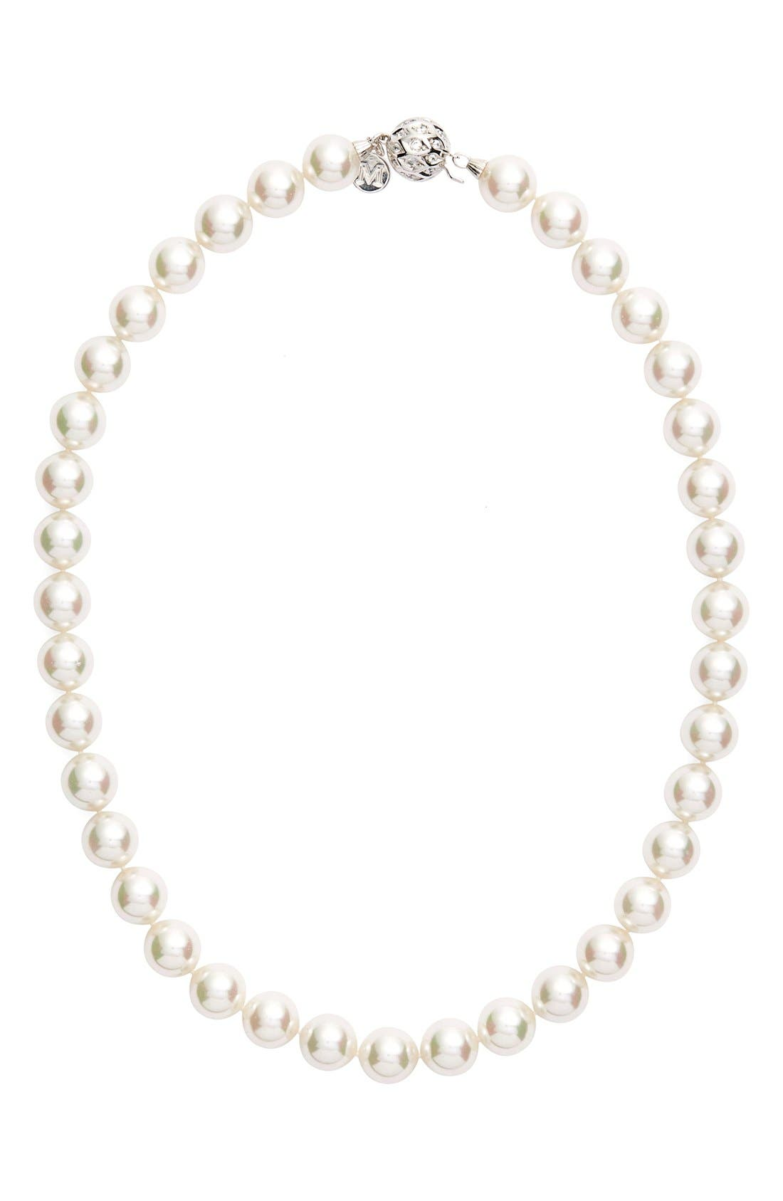12mm Round Simulated Pearl Necklace,                             Main thumbnail 1, color,                             100