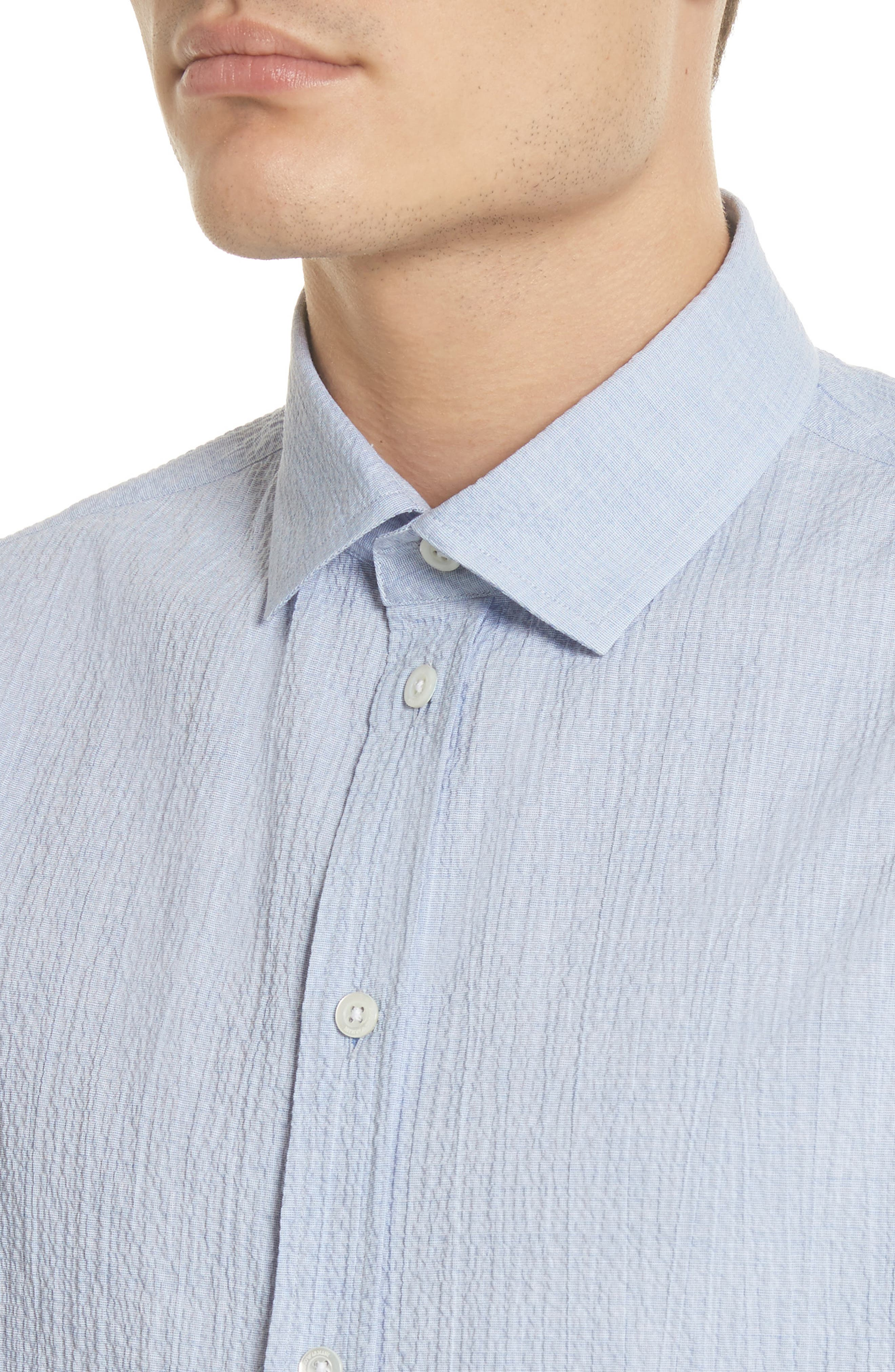 Regular Fit Seersucker Sport Shirt,                             Alternate thumbnail 4, color,