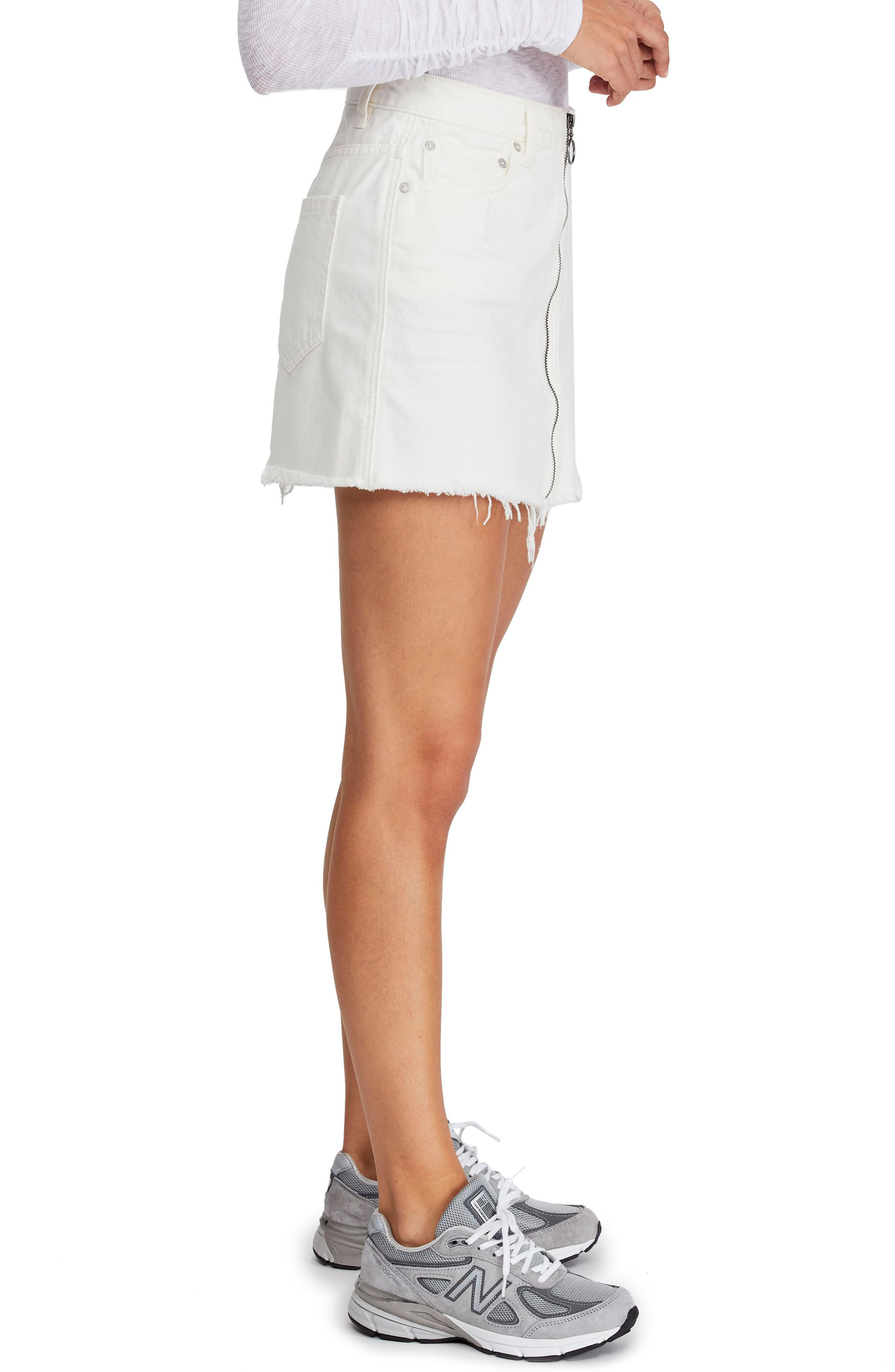FREE PEOPLE,                             Zip It Up Denim Miniskirt,                             Alternate thumbnail 3, color,                             WHITE