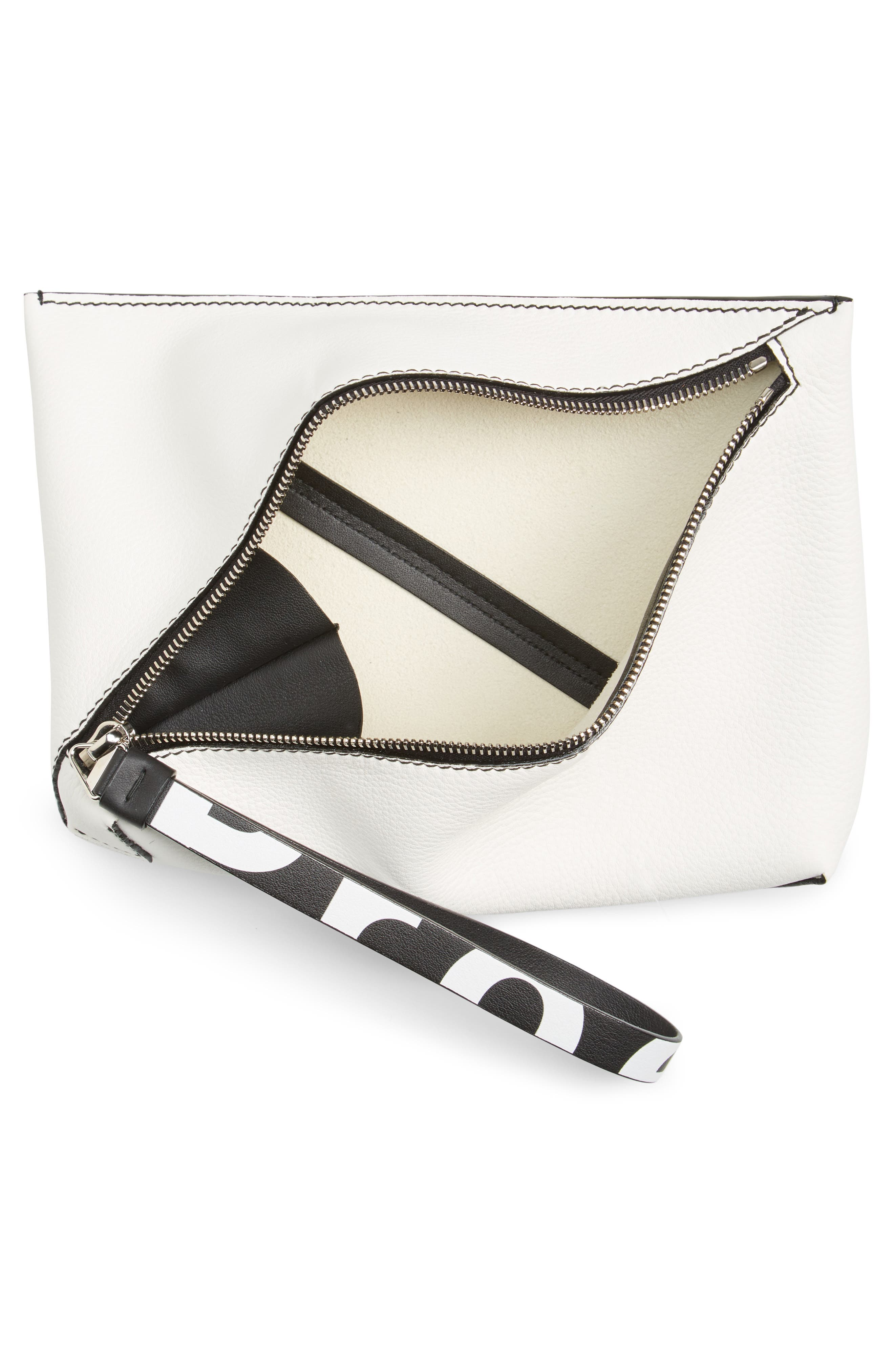 Diagonal Zip Leather Pouch,                             Alternate thumbnail 4, color,                             WHITE