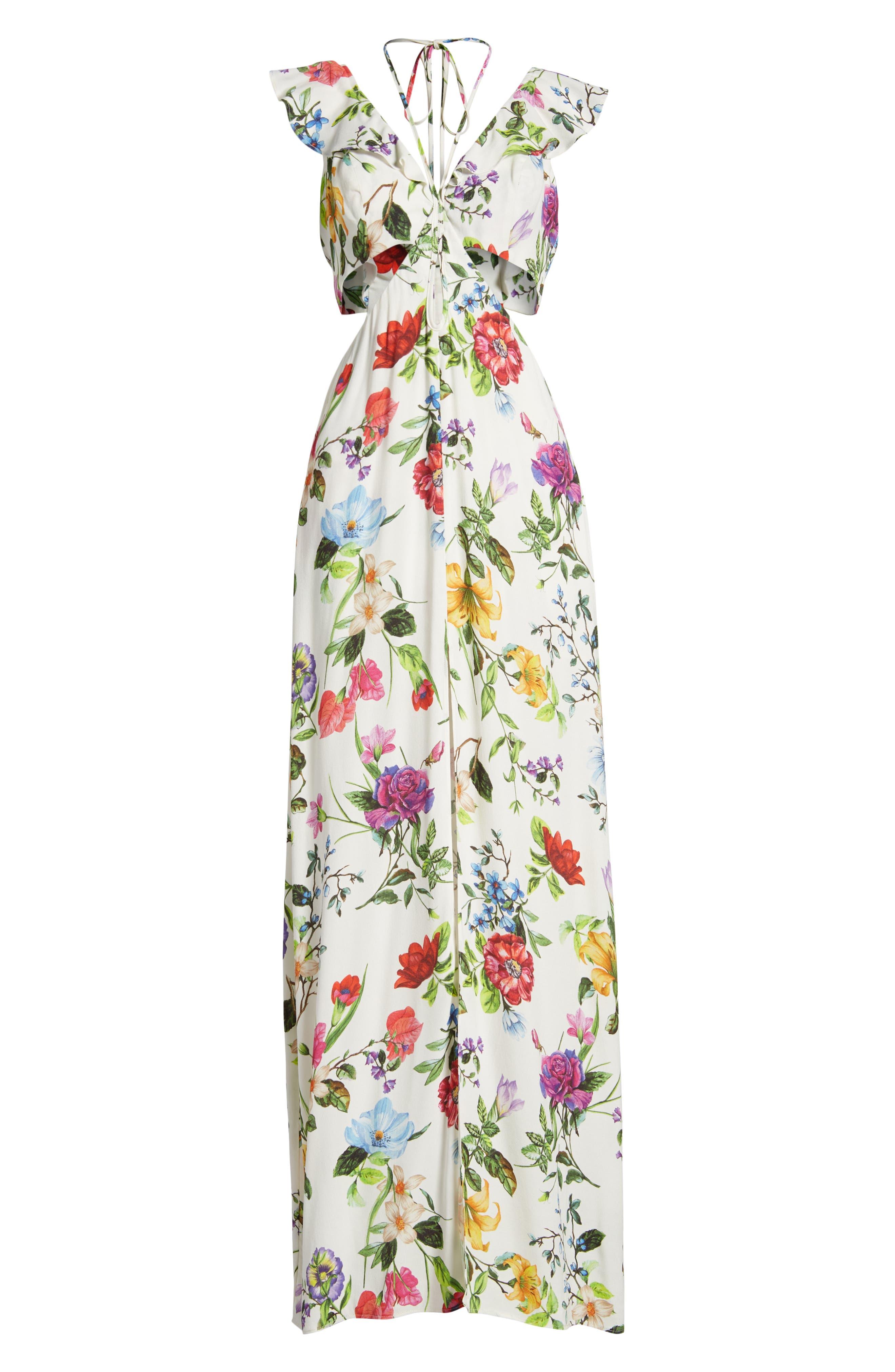 Alya Maxi Dress,                             Alternate thumbnail 7, color,                             JARDIN BLANC