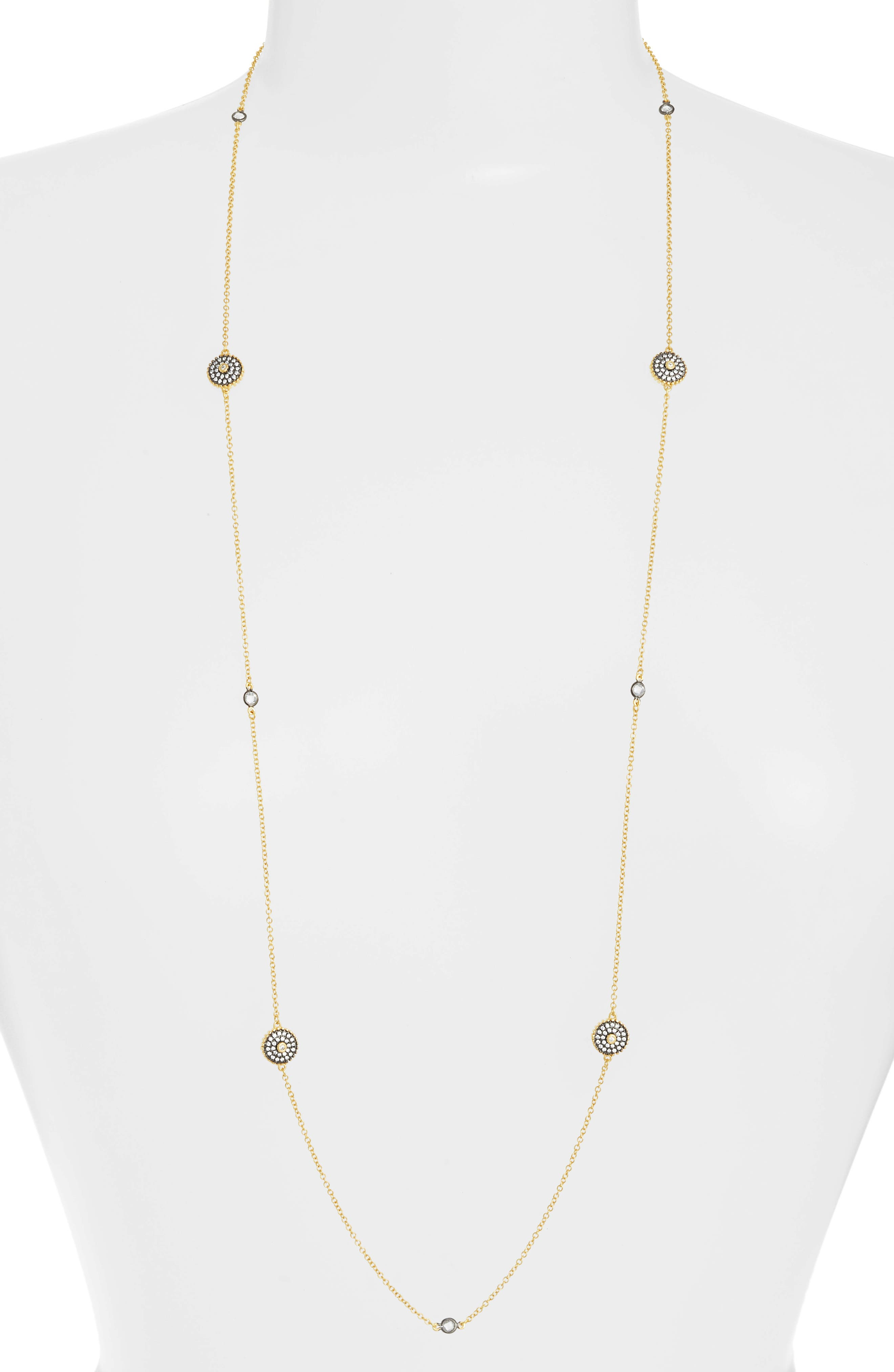 Double-Sided Pavé Disc Station Necklace,                             Main thumbnail 1, color,                             BLACK/ WHITE/ GOLD