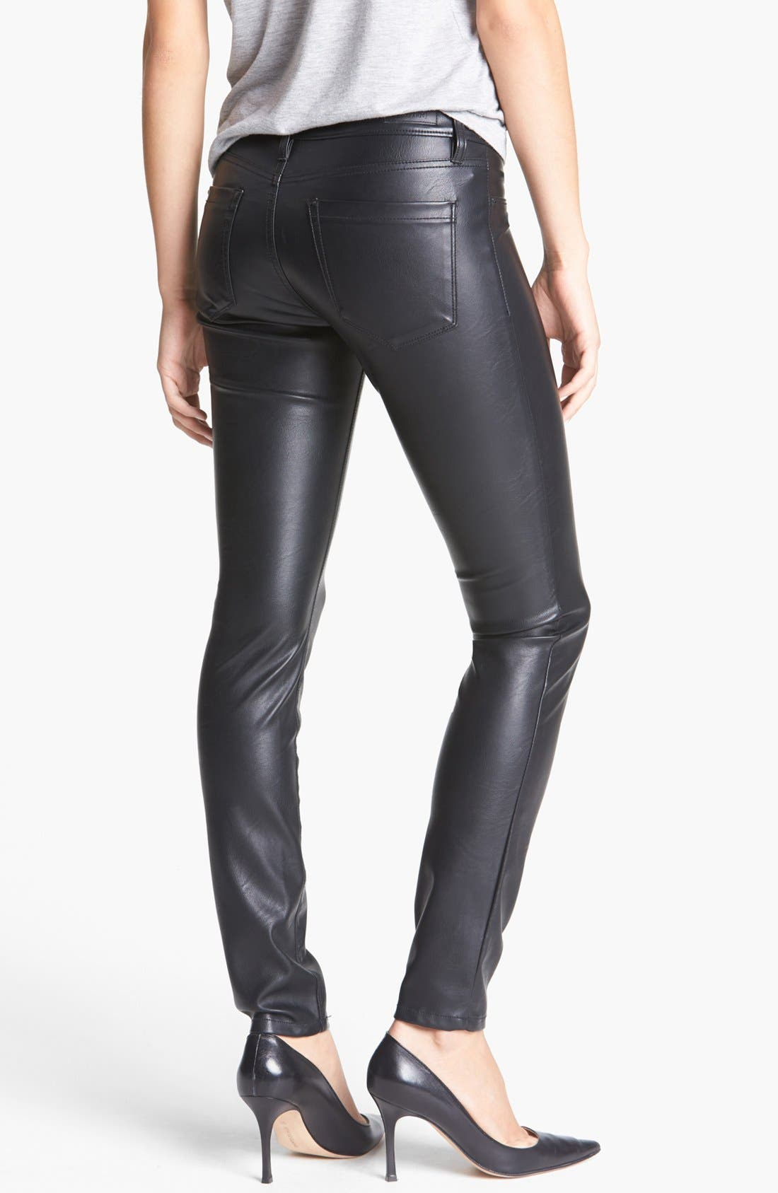 Faux Leather Skinny Pants,                             Alternate thumbnail 5, color,                             005