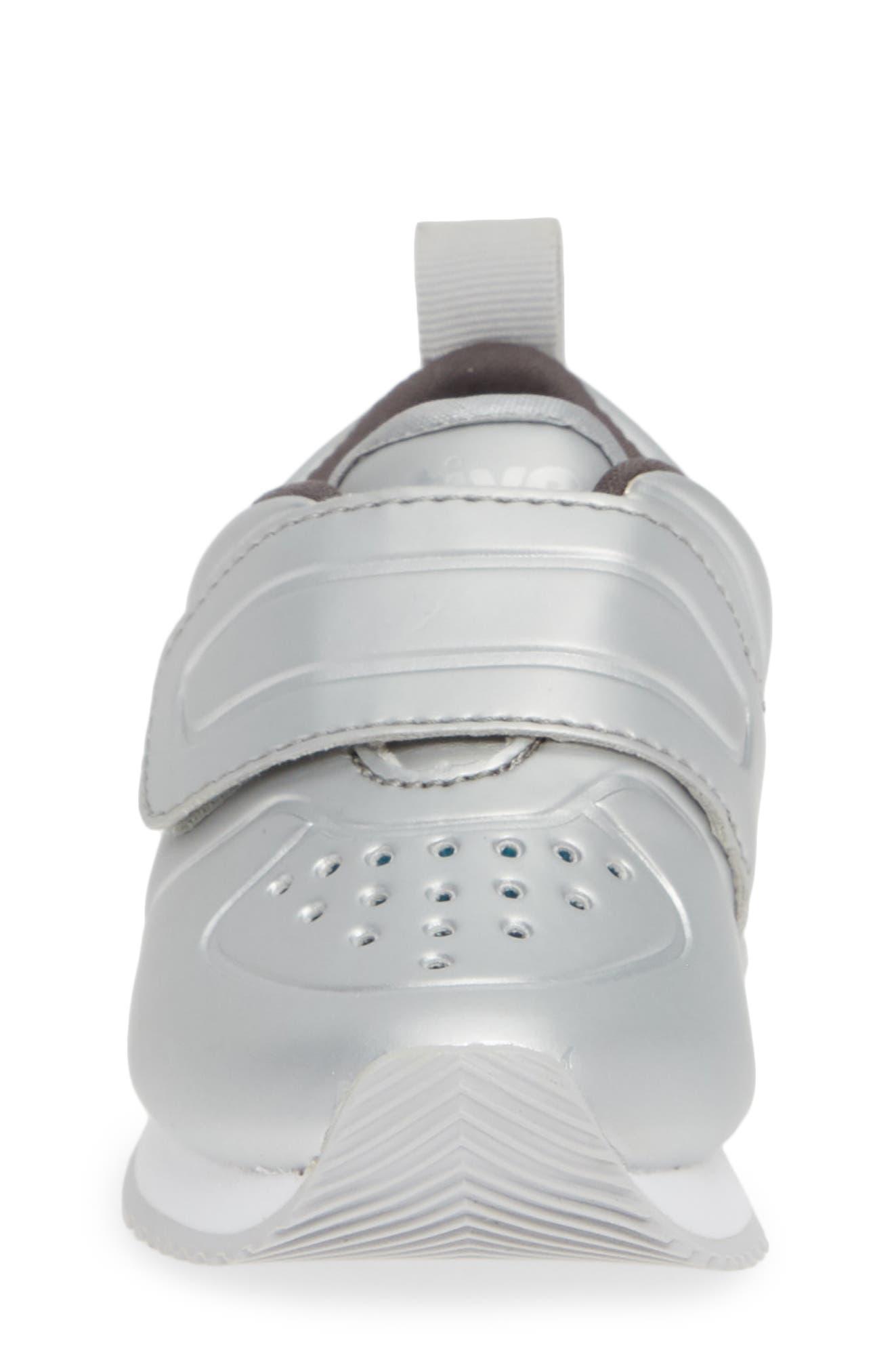 Cornell Perforated Metallic Sneaker,                             Alternate thumbnail 4, color,                             SILVER/ WHITE/ DUBLIN GREY