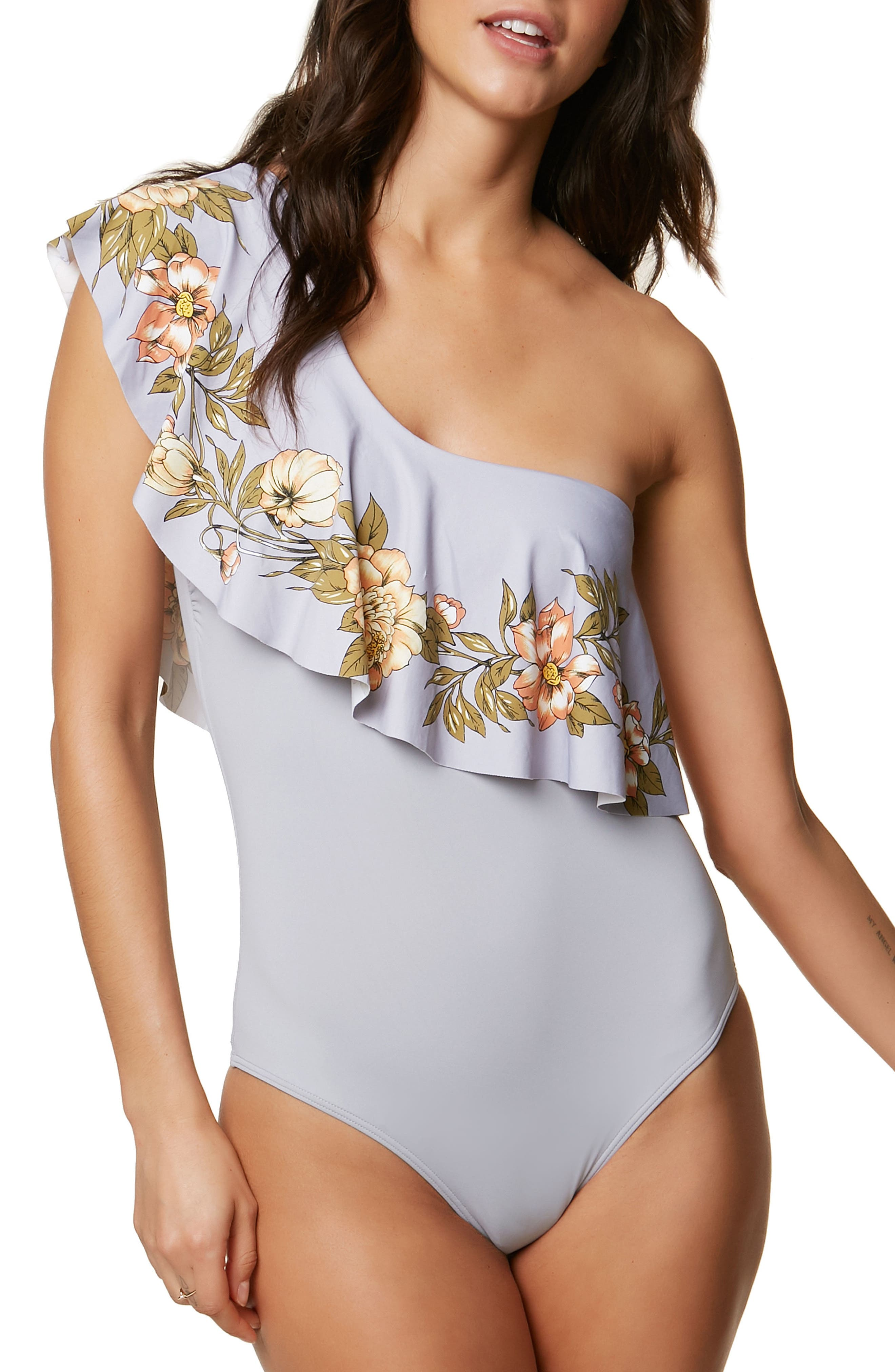 Aloha Floral Ruffle One-Piece Swimsuit,                             Main thumbnail 1, color,                             020