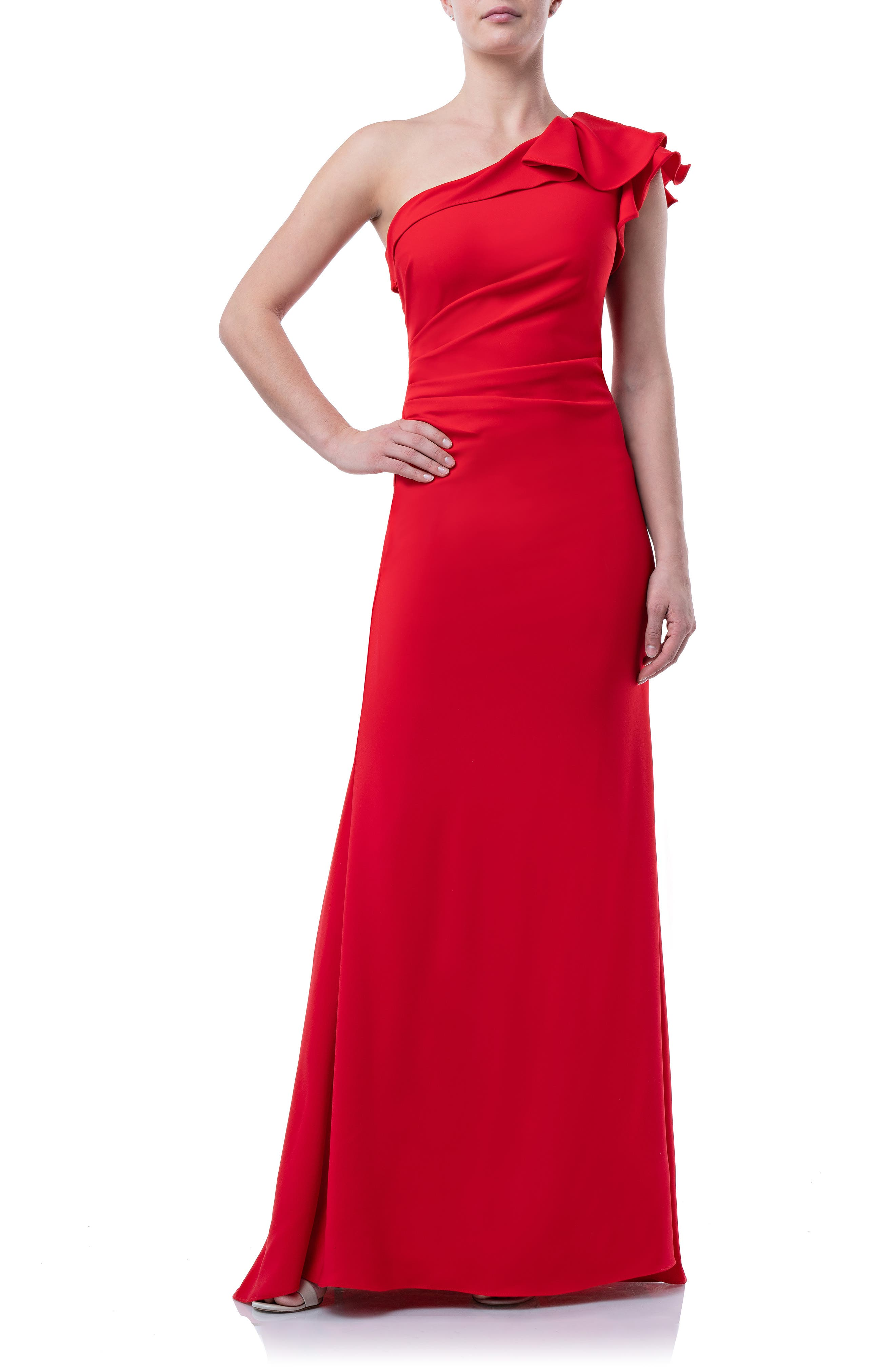 Carmen Marc Valvo Infusion One-Shoulder Gown, Red