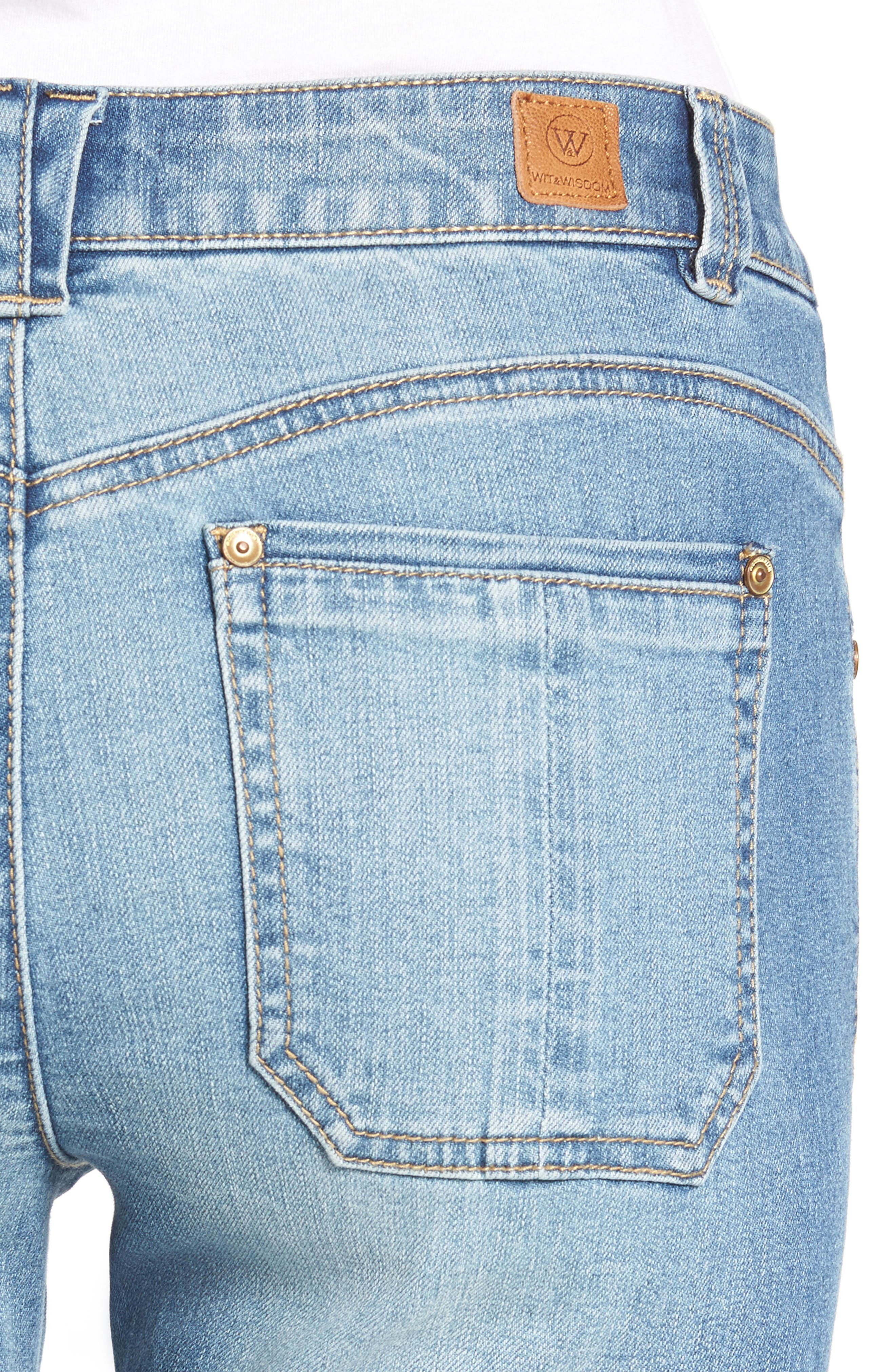 Seamless Ankle Skimmer Jeans (Regular & Petite),                             Alternate thumbnail 4, color,