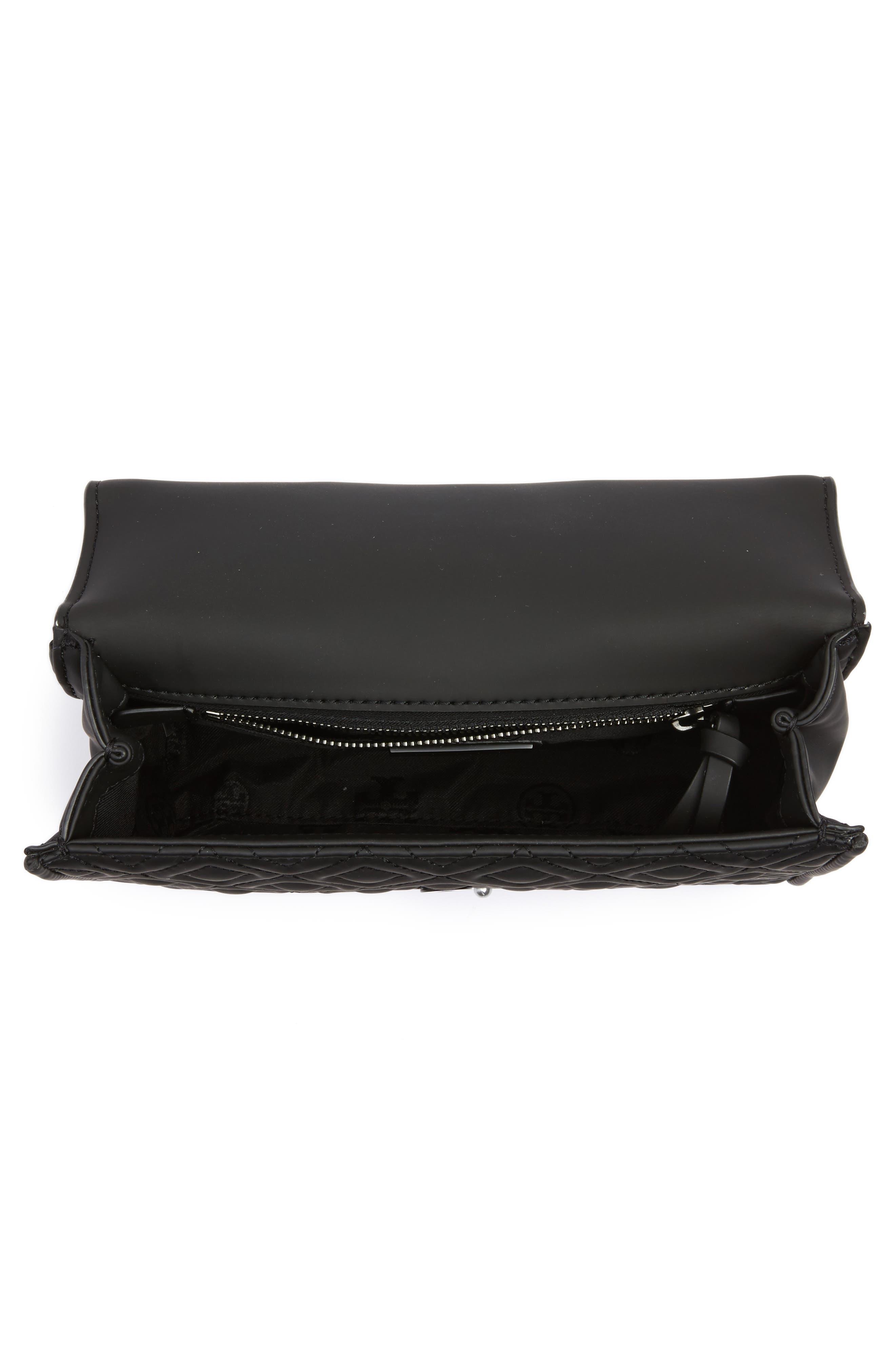 Small Fleming Quilted Shoulder Bag,                             Alternate thumbnail 4, color,                             BLACK