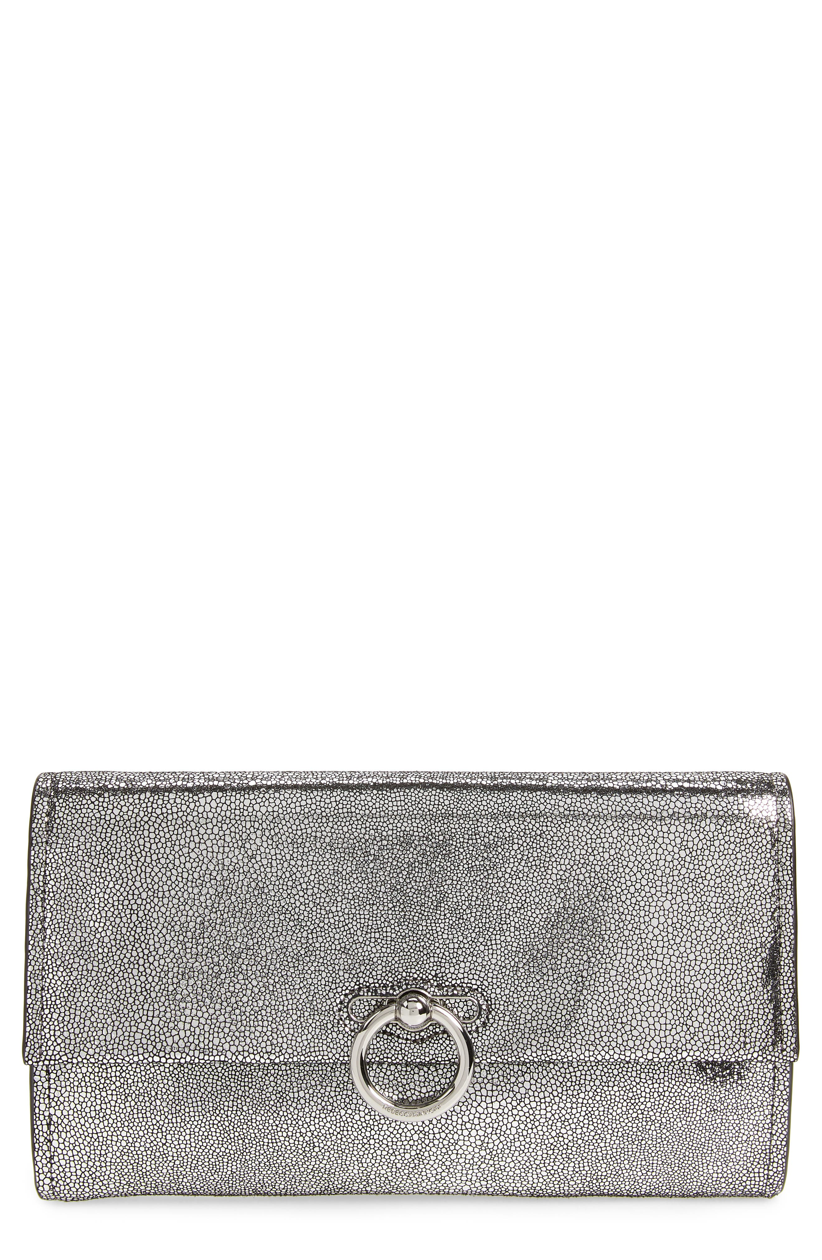 Jean Metallic Leather Clutch,                             Main thumbnail 1, color,                             SILVER
