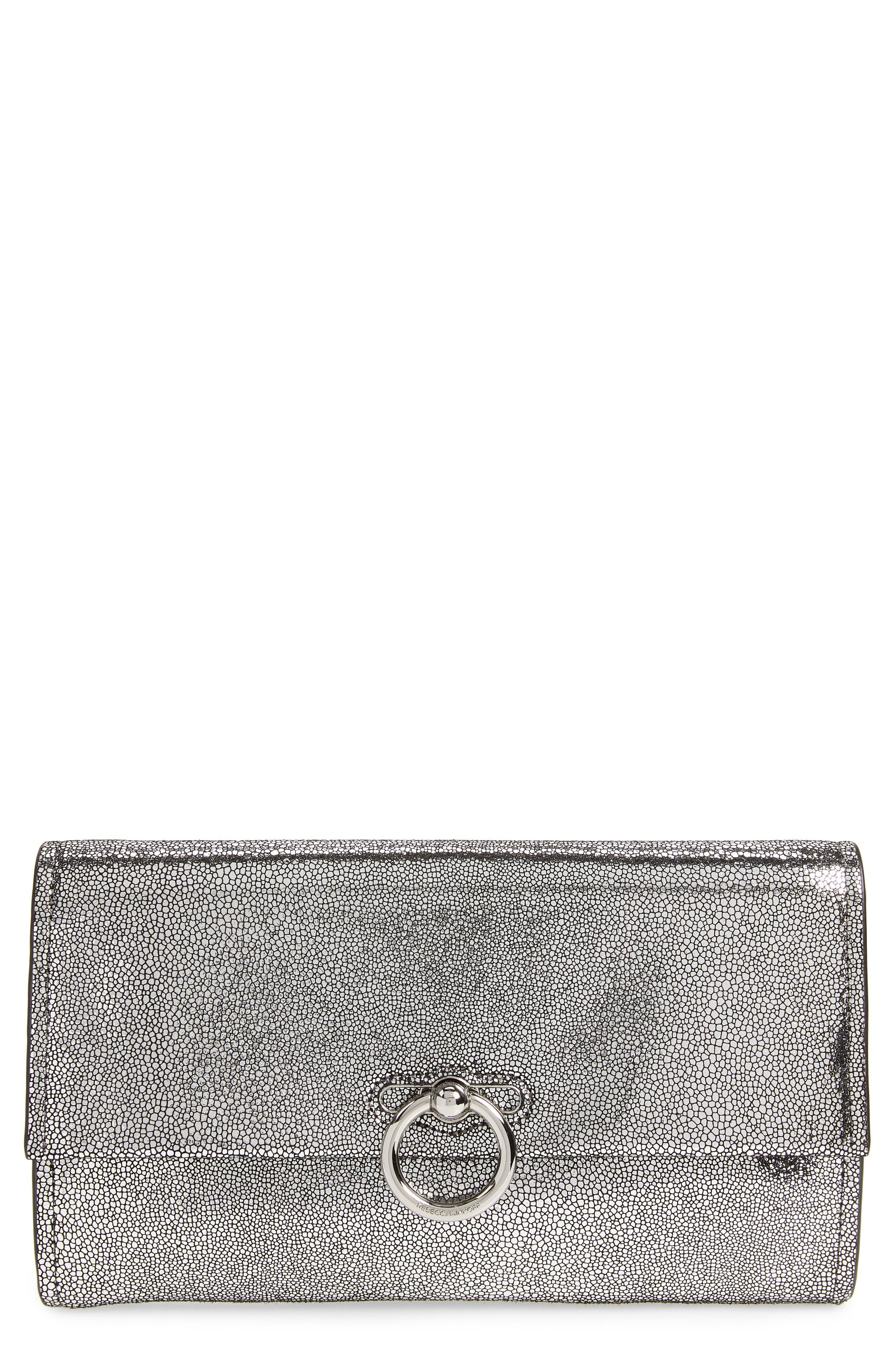 Jean Metallic Leather Clutch,                         Main,                         color, SILVER