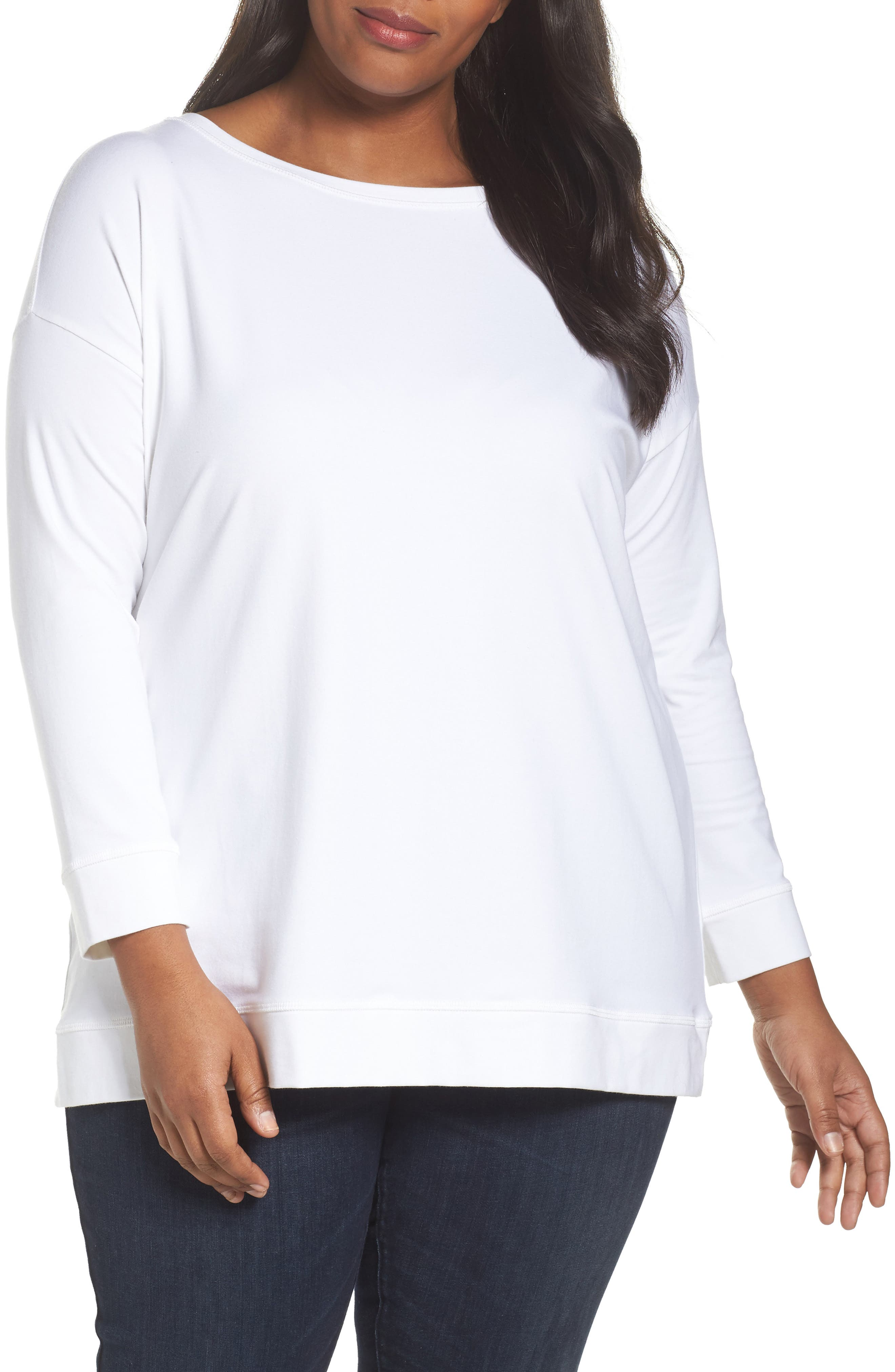 Jewel Neck Organic Stretch Cotton Tee,                         Main,                         color, 100