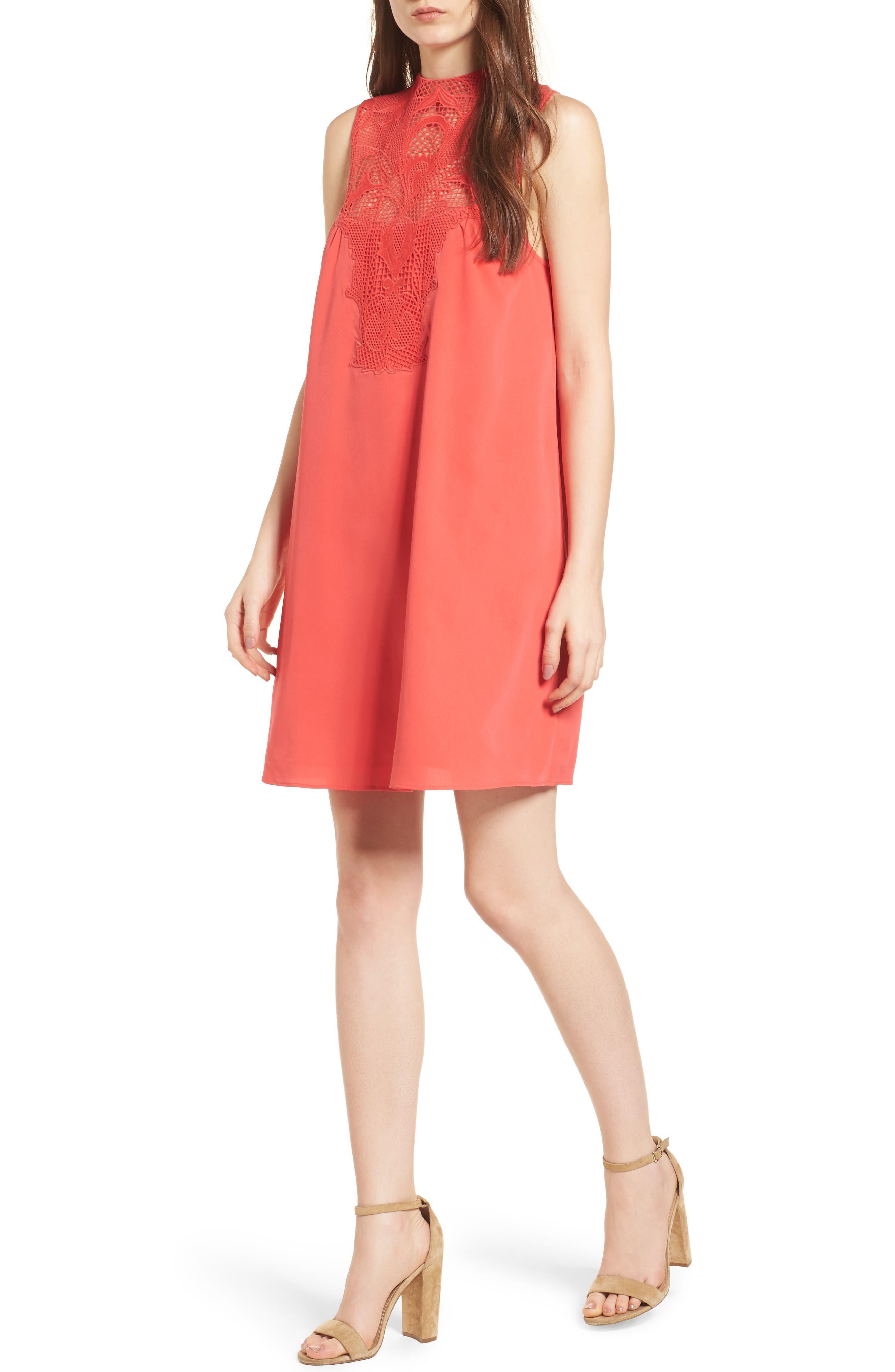 Chelsea28 Lace Yolk Shift Dress, Red