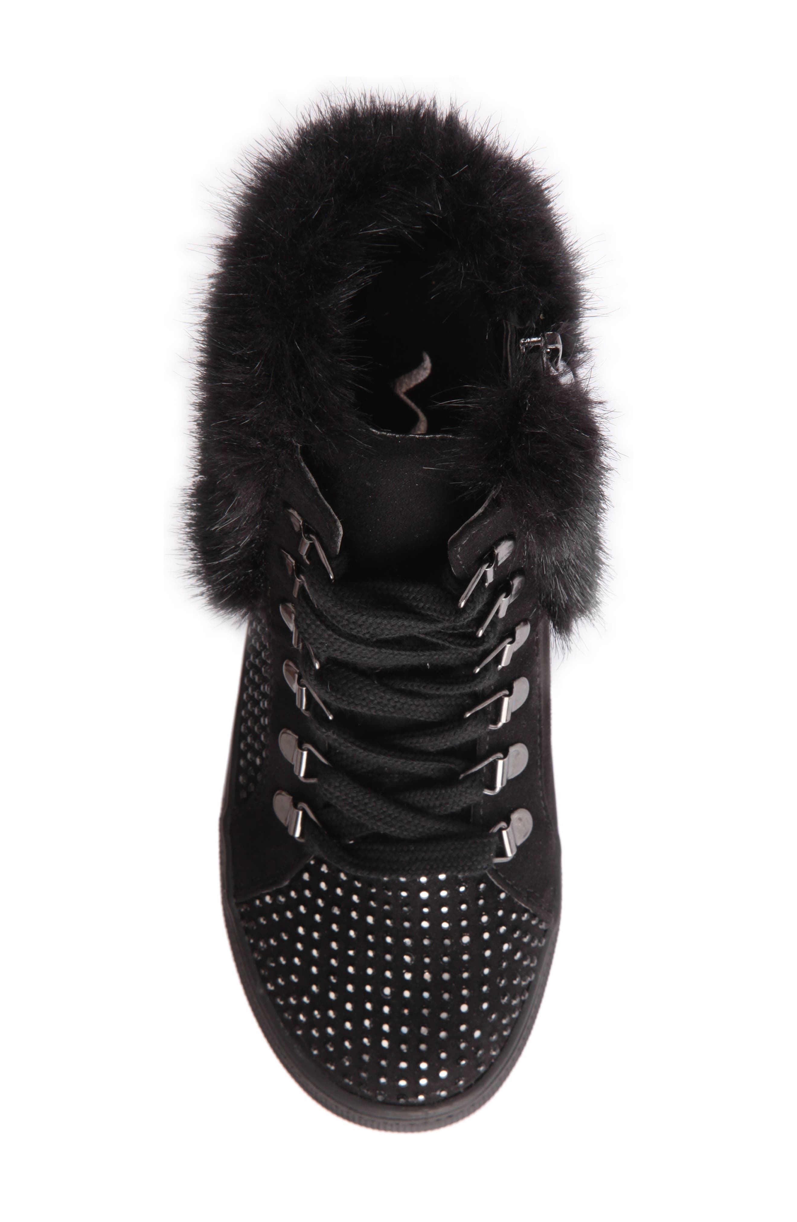 Randi Studded Faux Fur High Top,                             Alternate thumbnail 5, color,                             007
