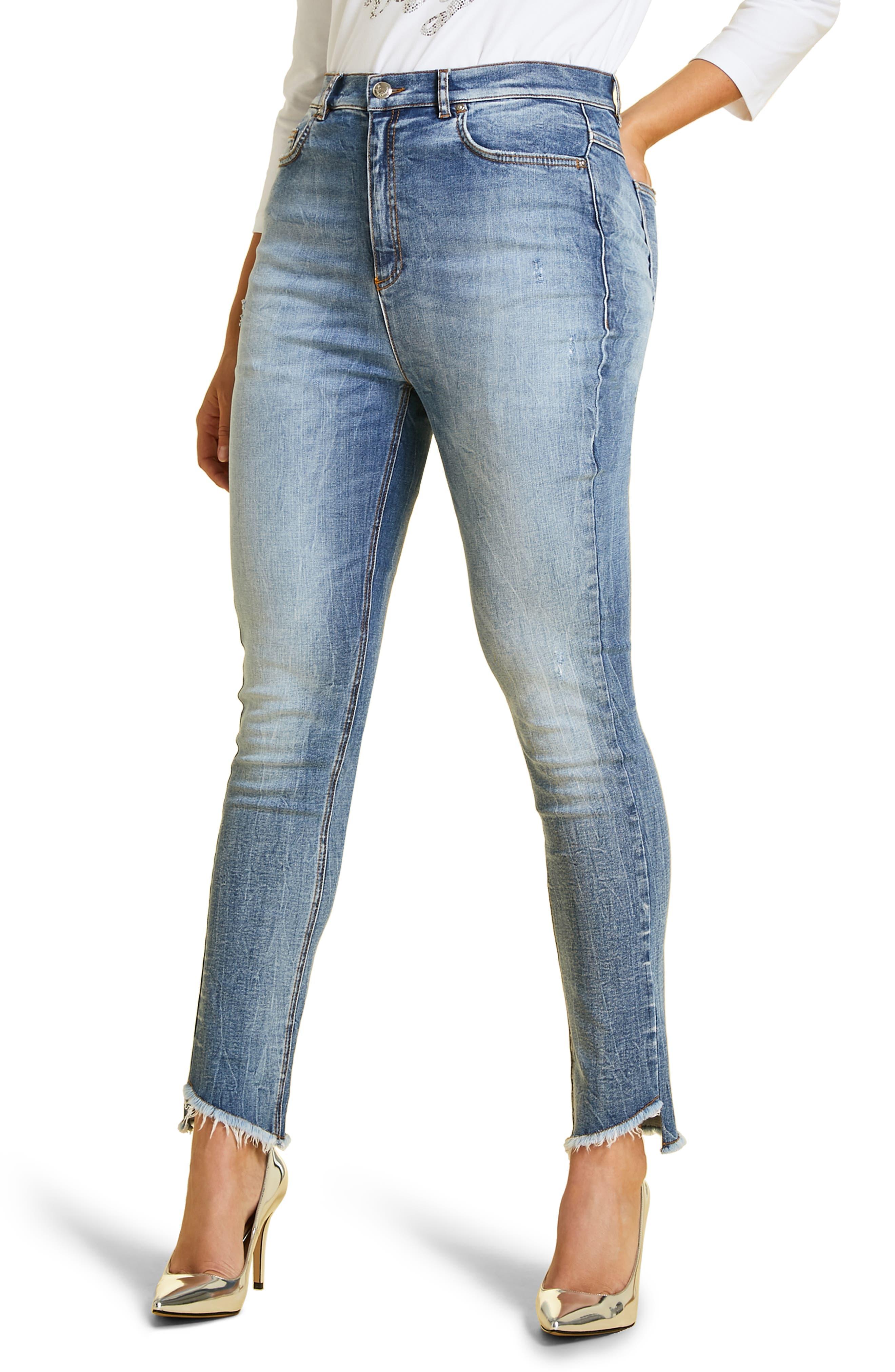 Ideale Step Raw Hem Jeans, Main, color, 400