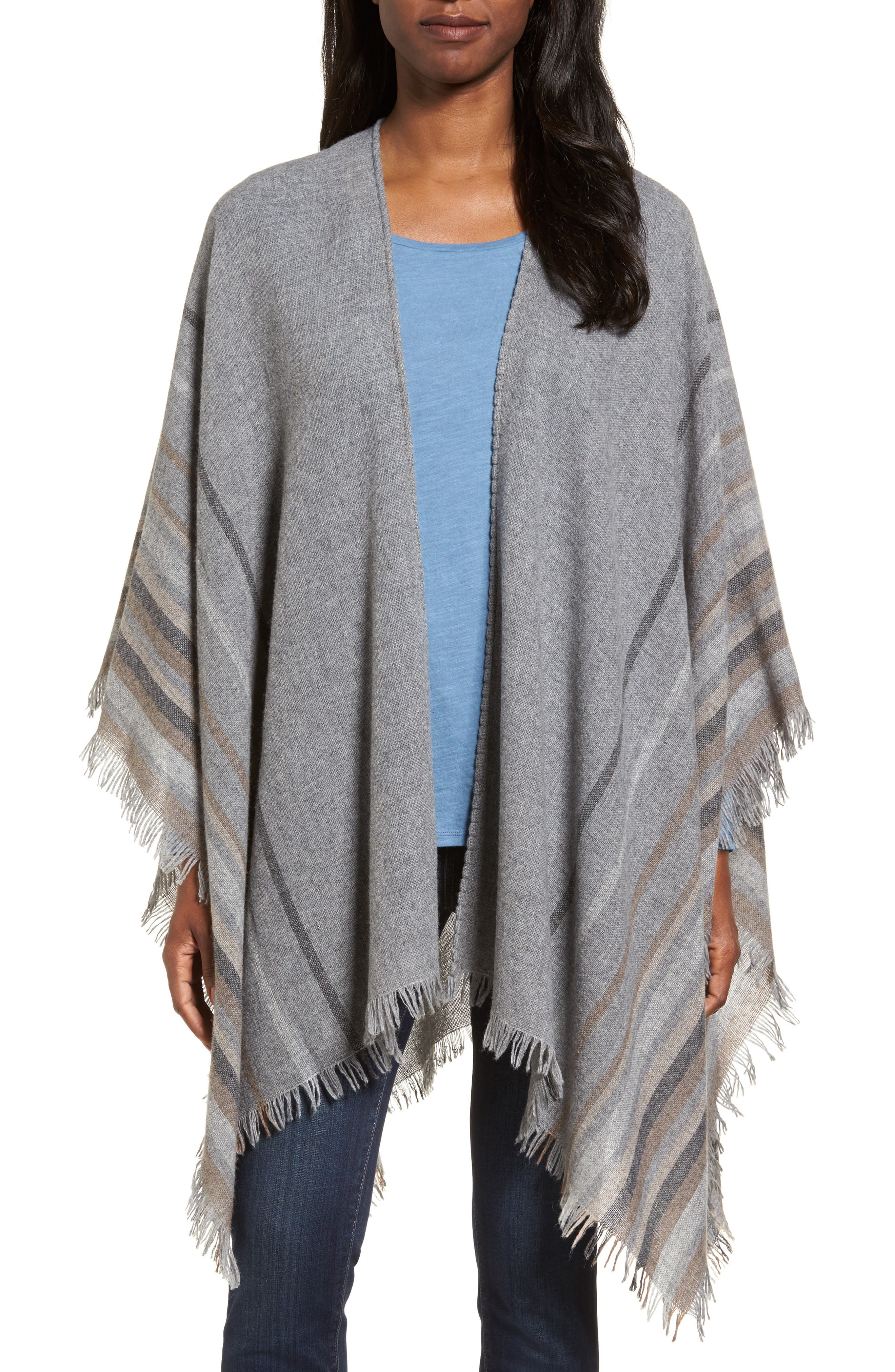 Stripe Wool Blend Poncho Wrap,                             Main thumbnail 1, color,                             030