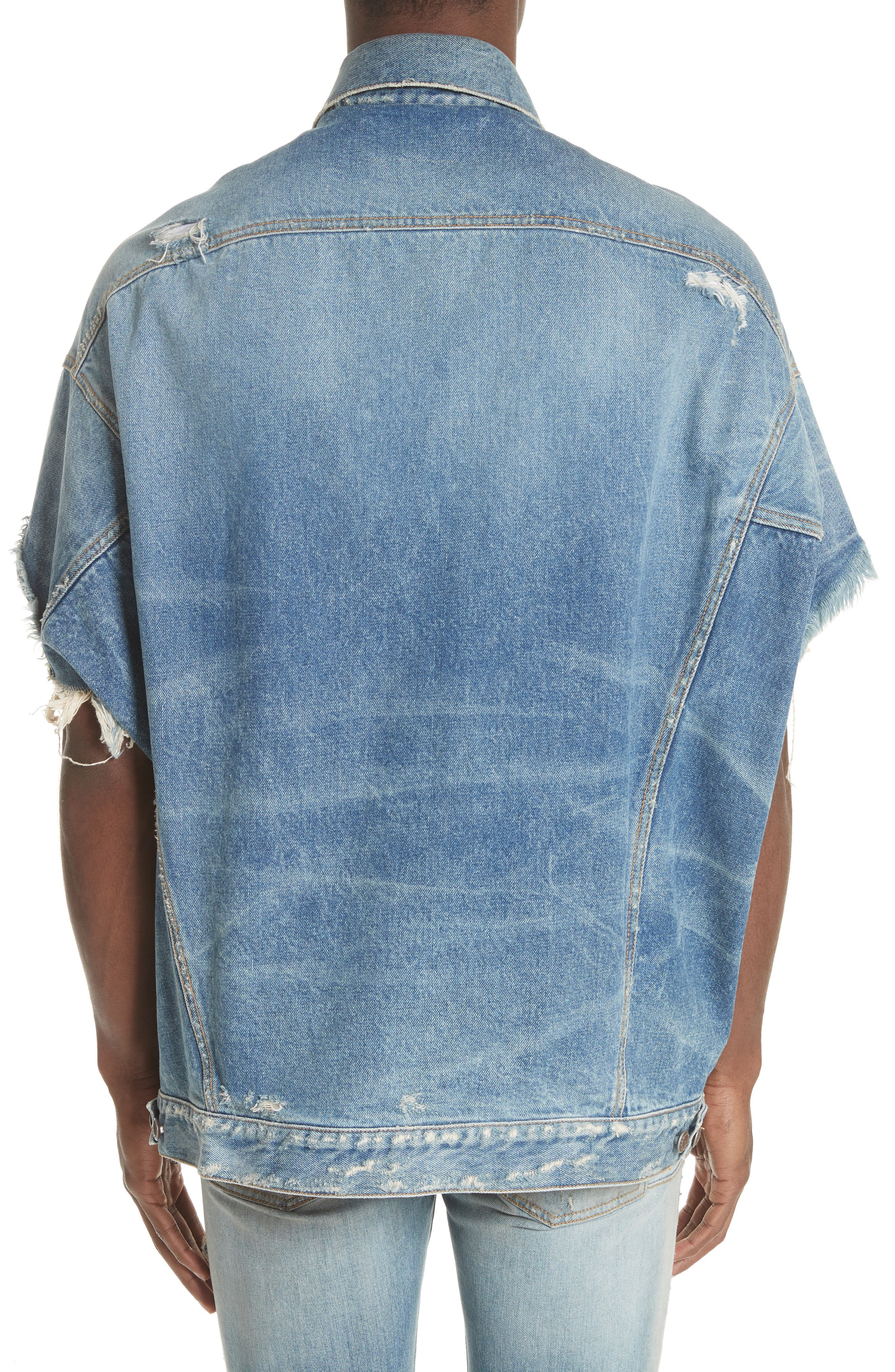 Oversized Cutoff Denim Jacket,                             Alternate thumbnail 2, color,                             BLUE