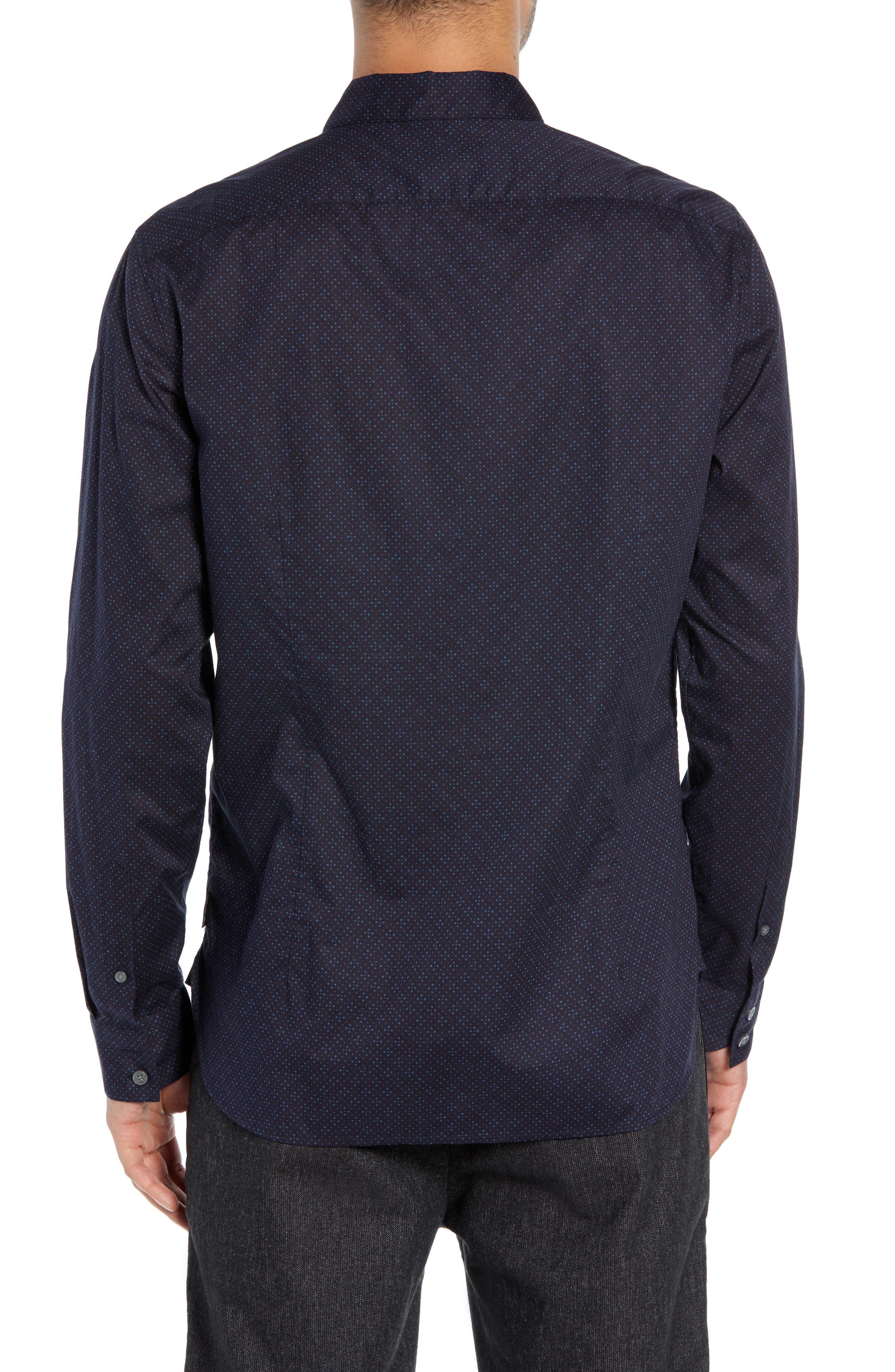 Diamond Print Sport Shirt,                             Alternate thumbnail 3, color,                             RAIN BLUE