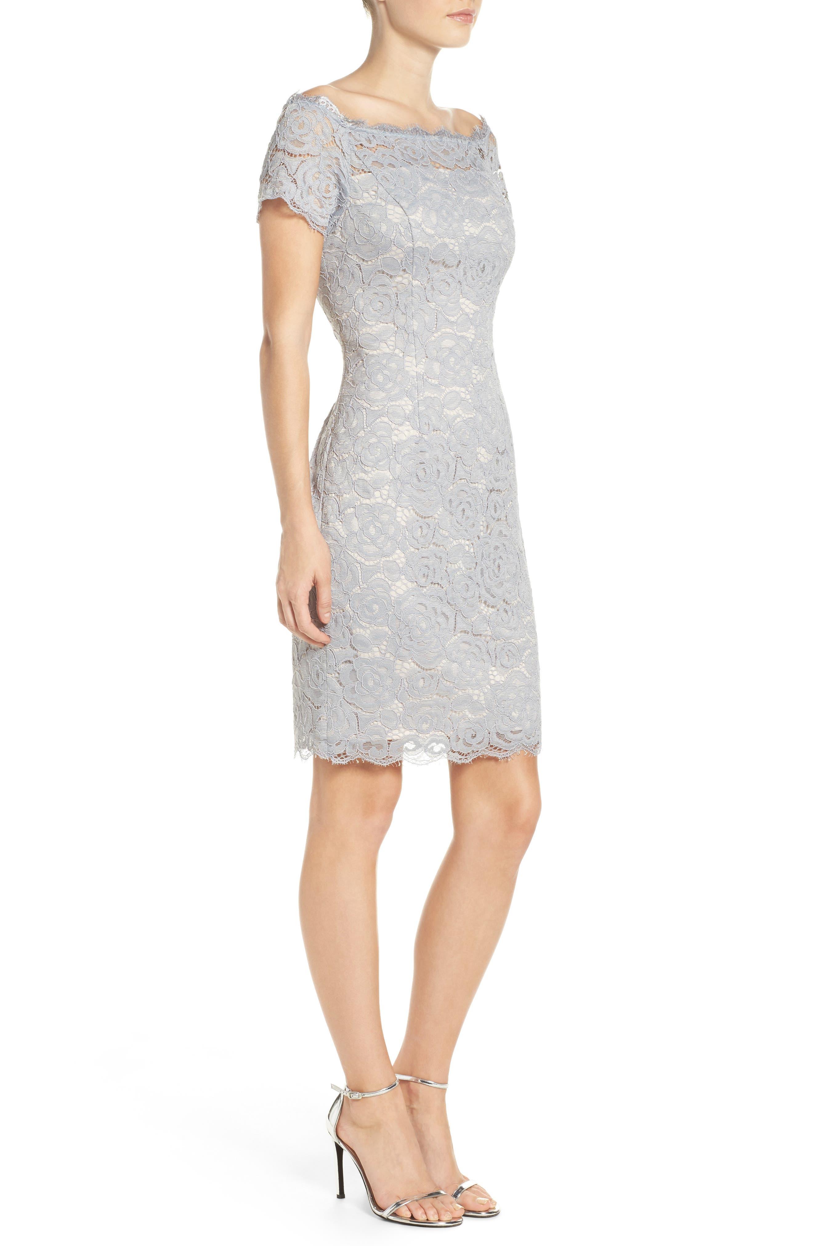 Off the Shoulder Lace Sheath Dress,                             Alternate thumbnail 21, color,