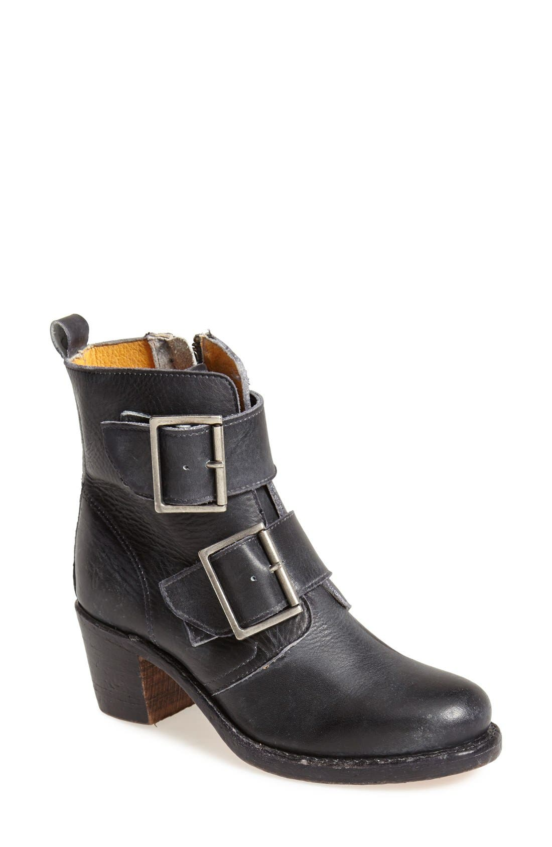 FRYE 'Sabrina' Double Buckle Bootie, Main, color, 001