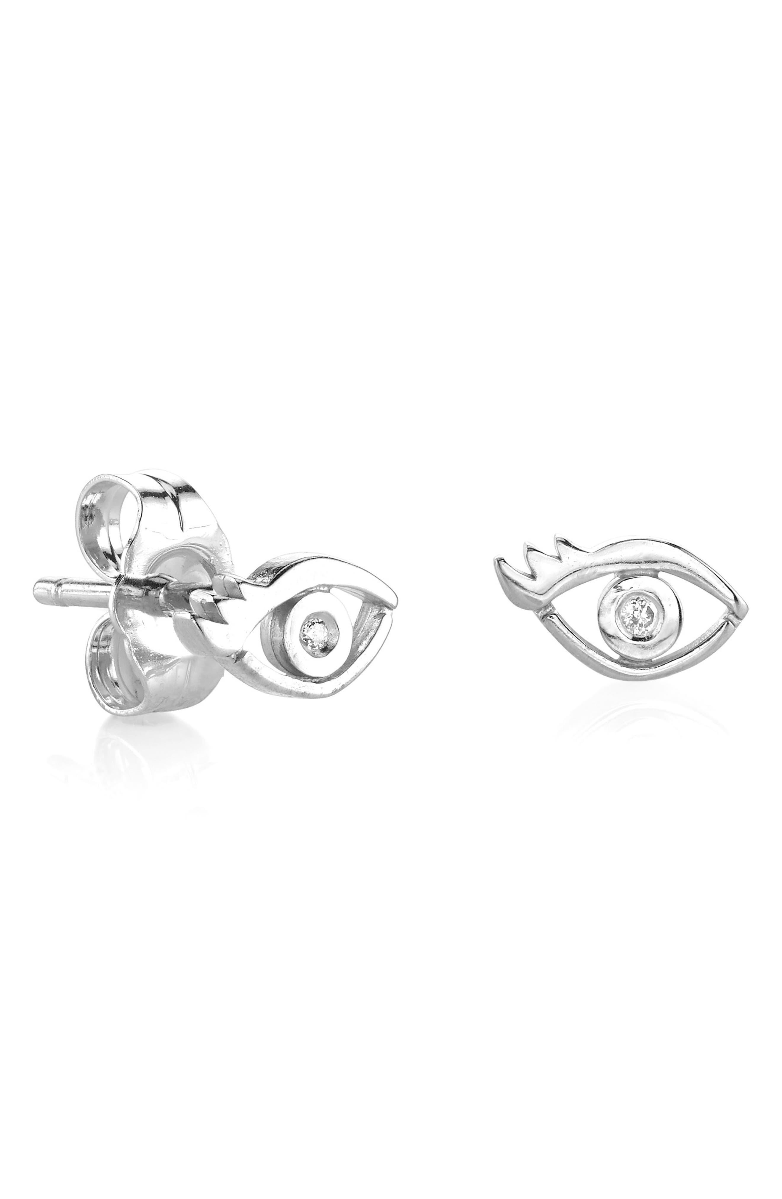 Shy by SE Evil Eye Diamond Stud Earrings,                             Main thumbnail 1, color,                             SILVER