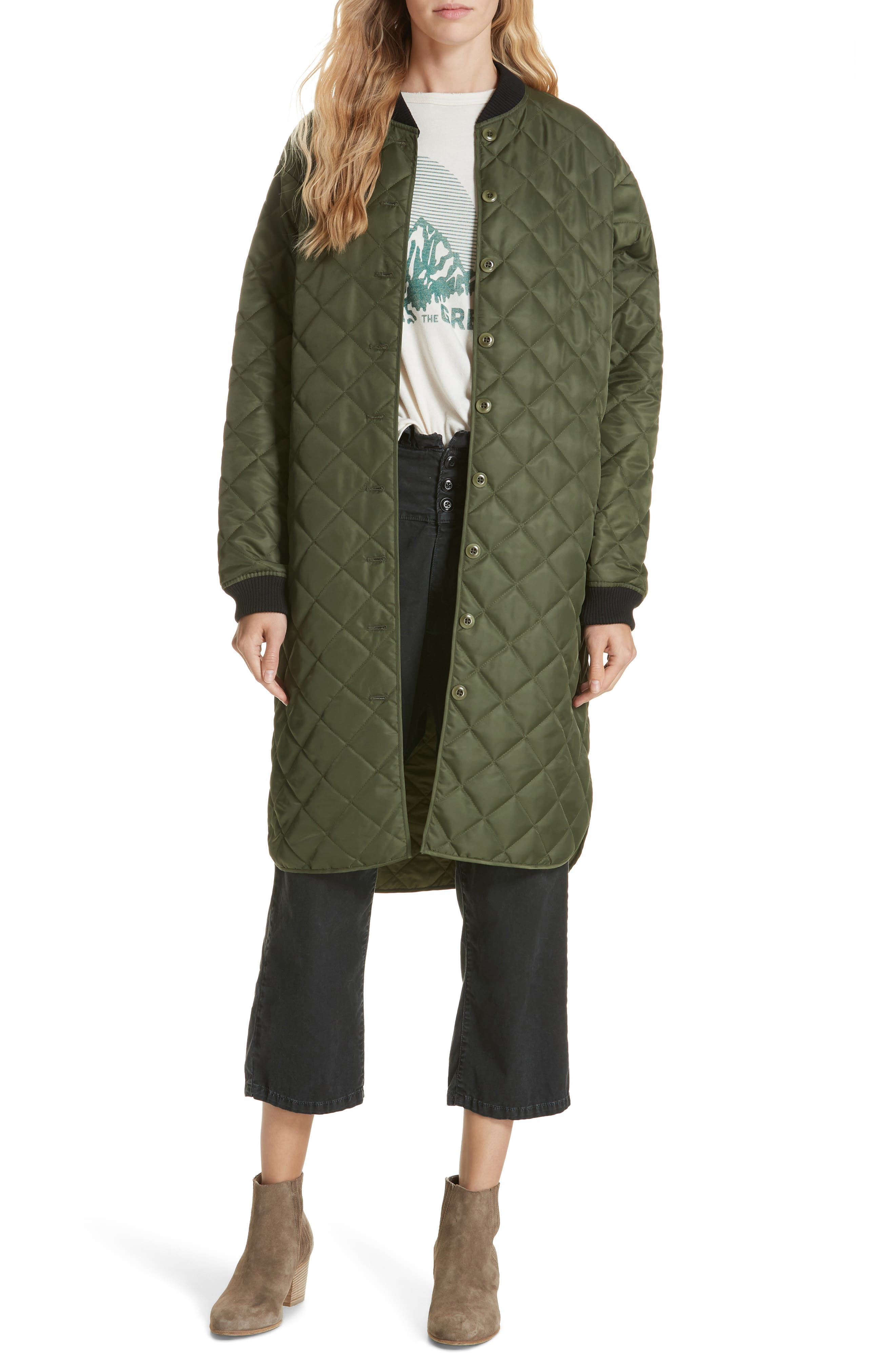 Quilted Long Coat,                             Alternate thumbnail 7, color,                             ARMY