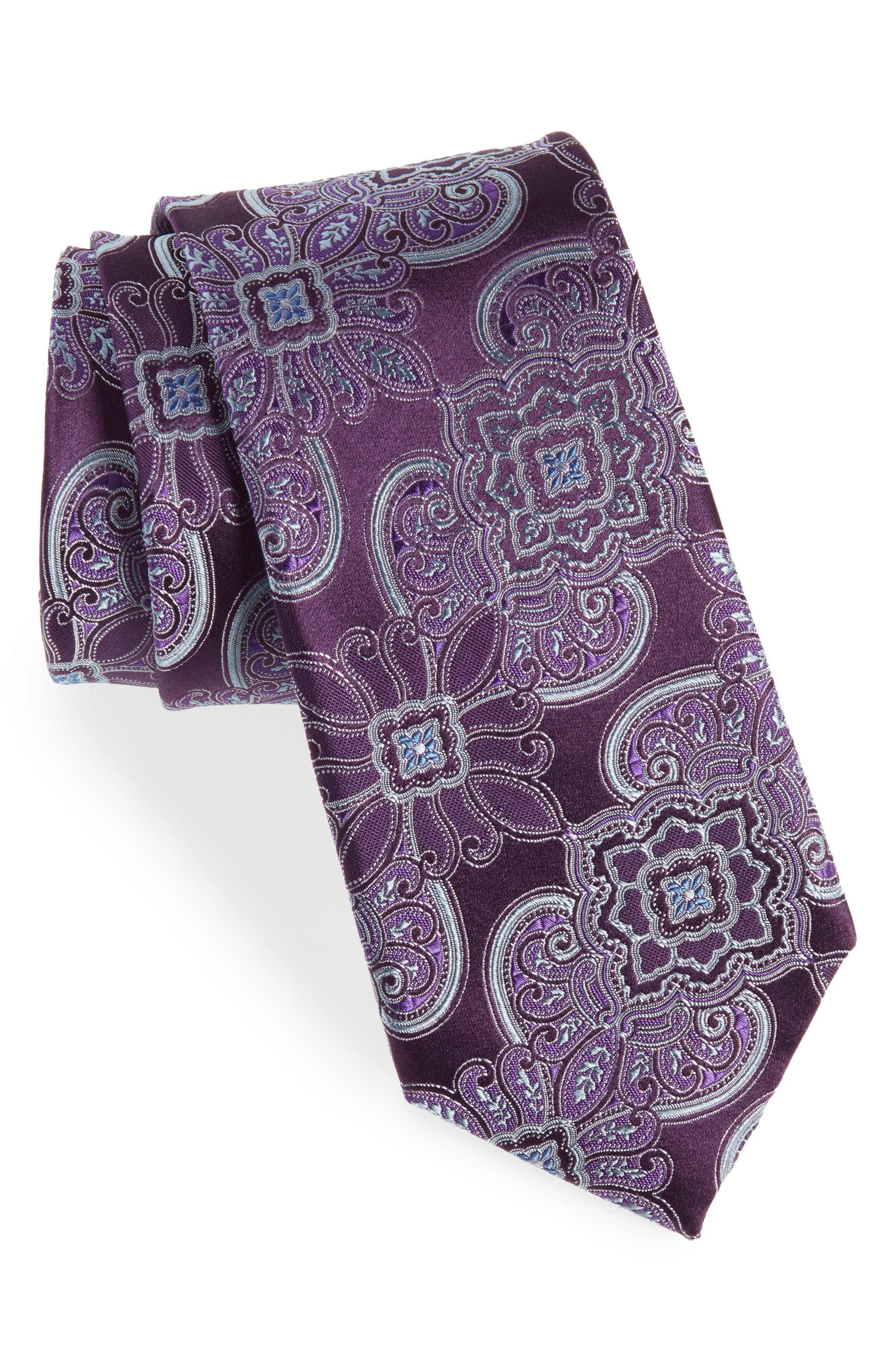 Casey Medallion Silk Tie,                             Main thumbnail 1, color,                             PURPLE