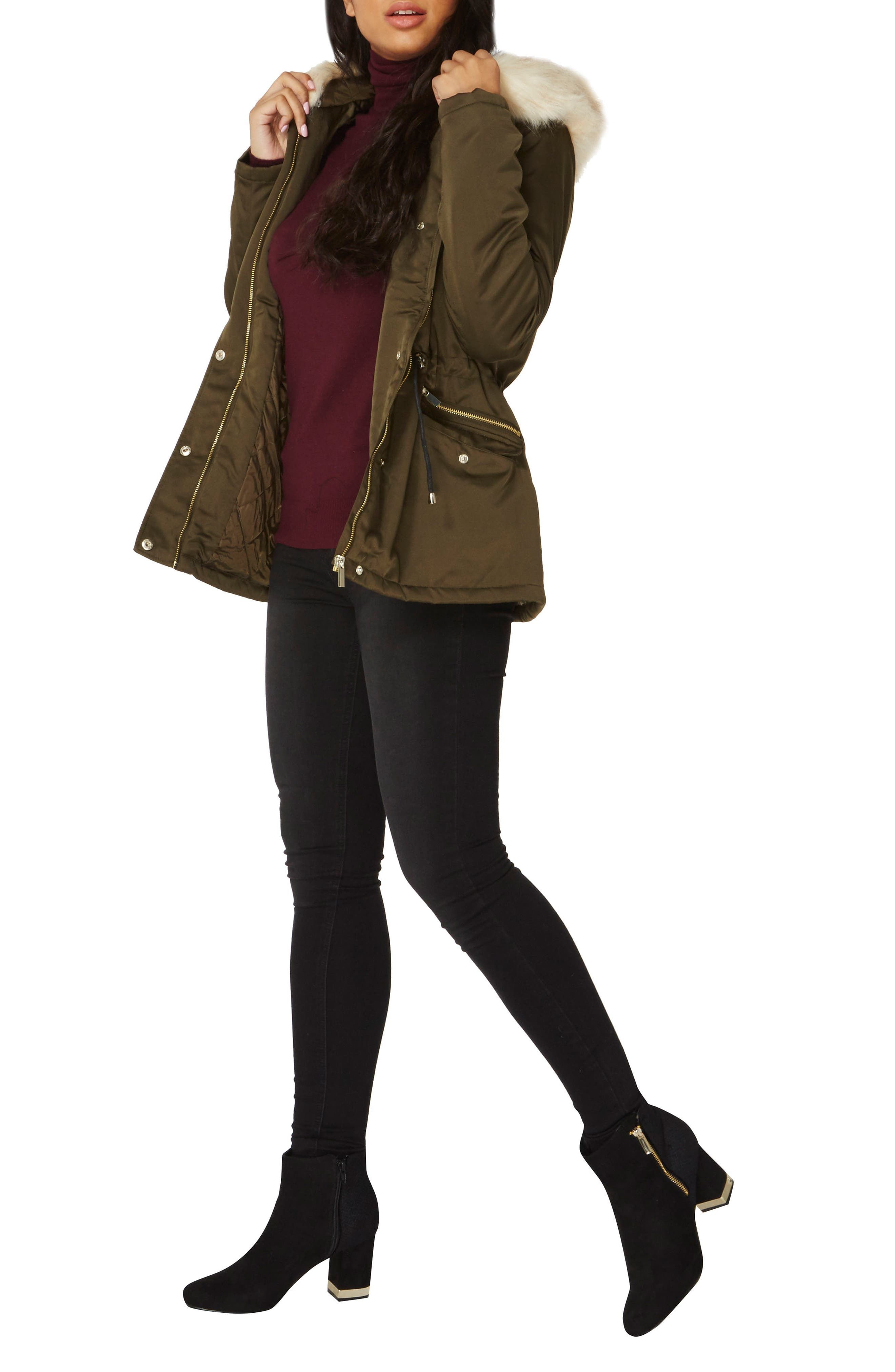 Hooded Parka with Removable Faux Fur Trim,                             Alternate thumbnail 4, color,                             300