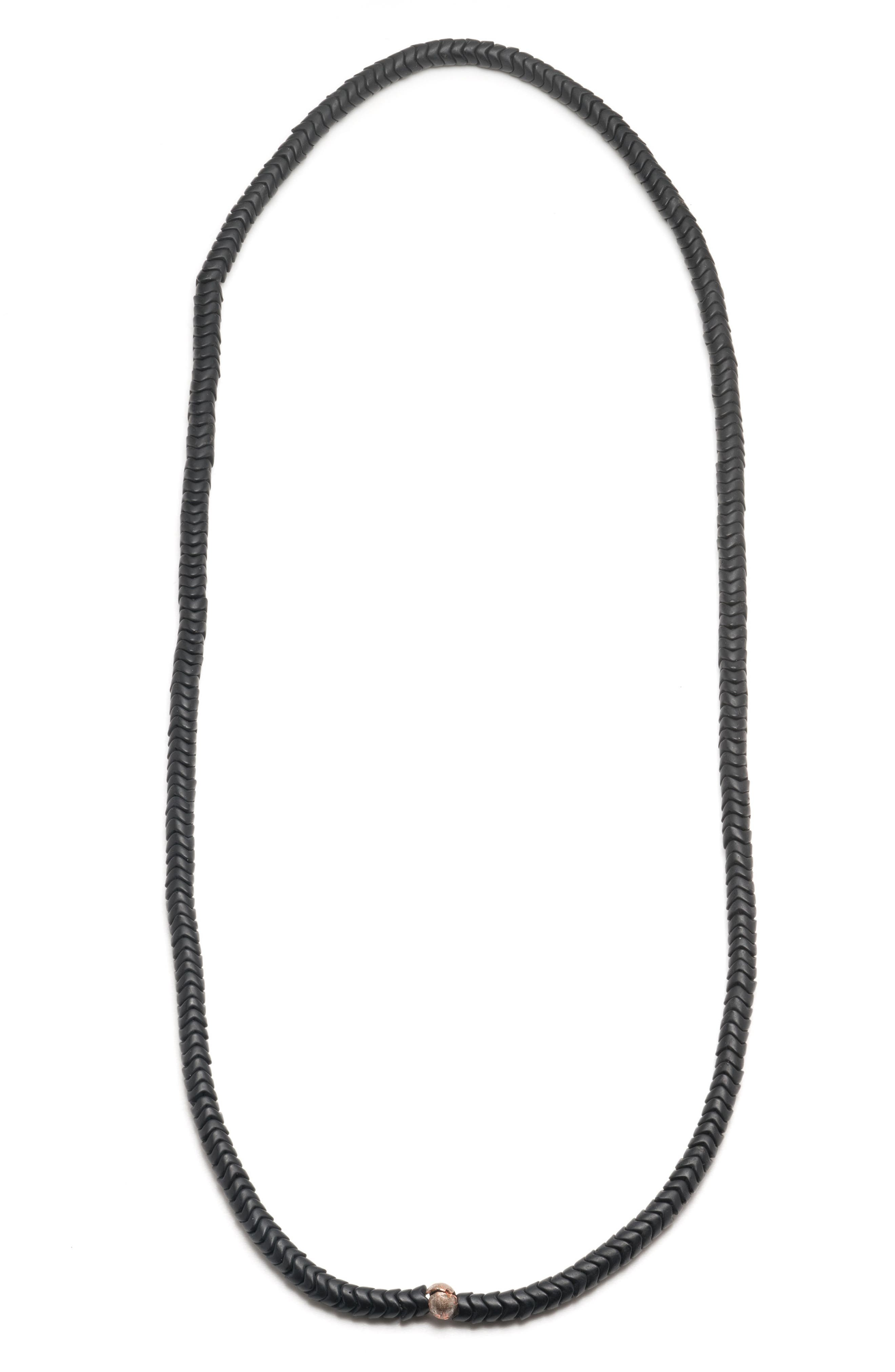 Black Snake Bead Necklace,                         Main,                         color, 001