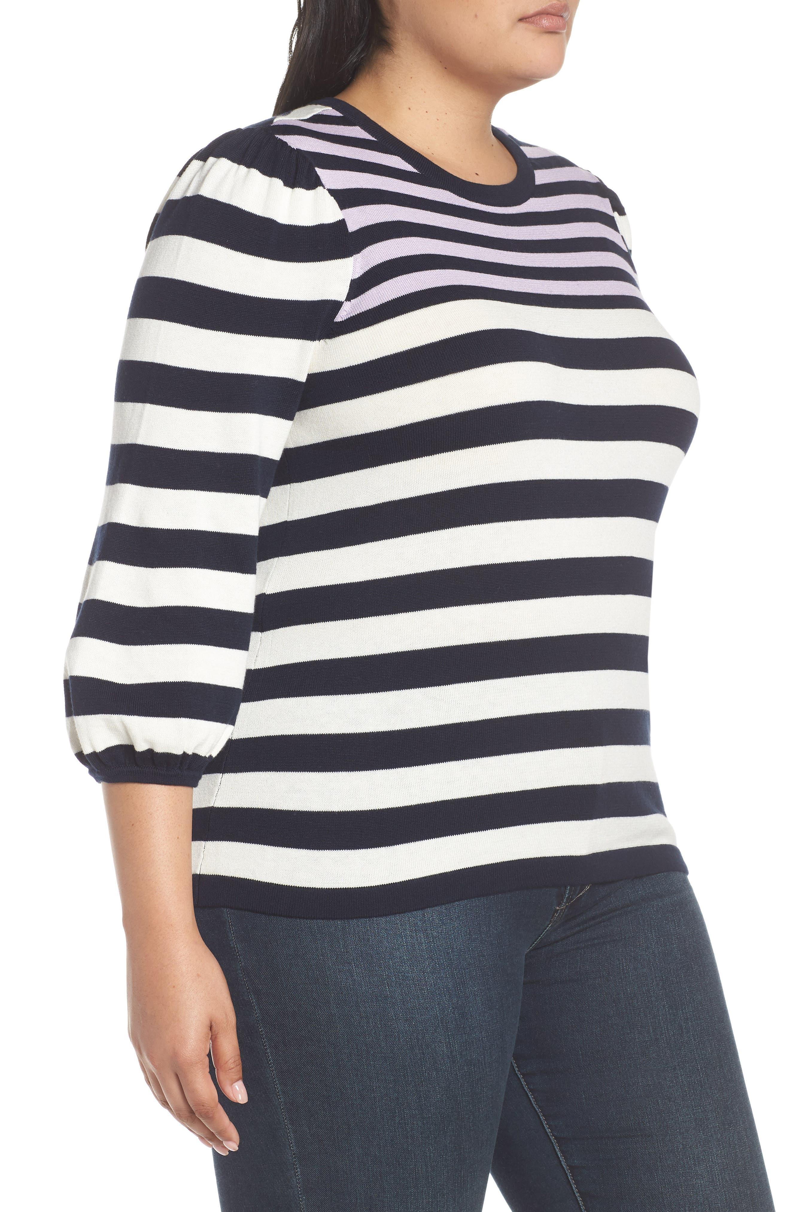 Stripe Blouson Sleeve Sweater,                             Alternate thumbnail 3, color,                             CAVIAR