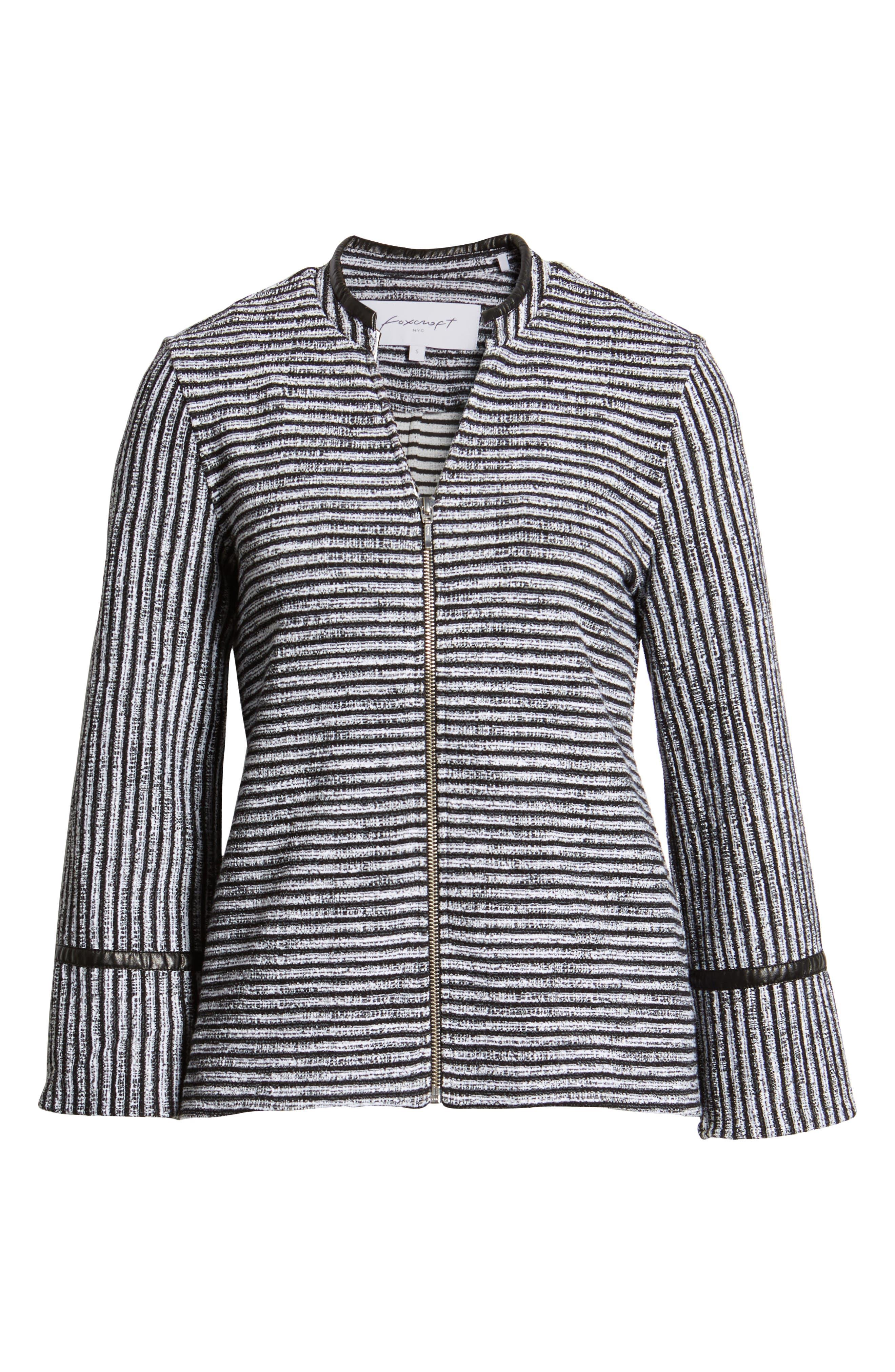 Irina Stripe Knit Jacket,                             Alternate thumbnail 6, color,                             IVORY/ BLACK