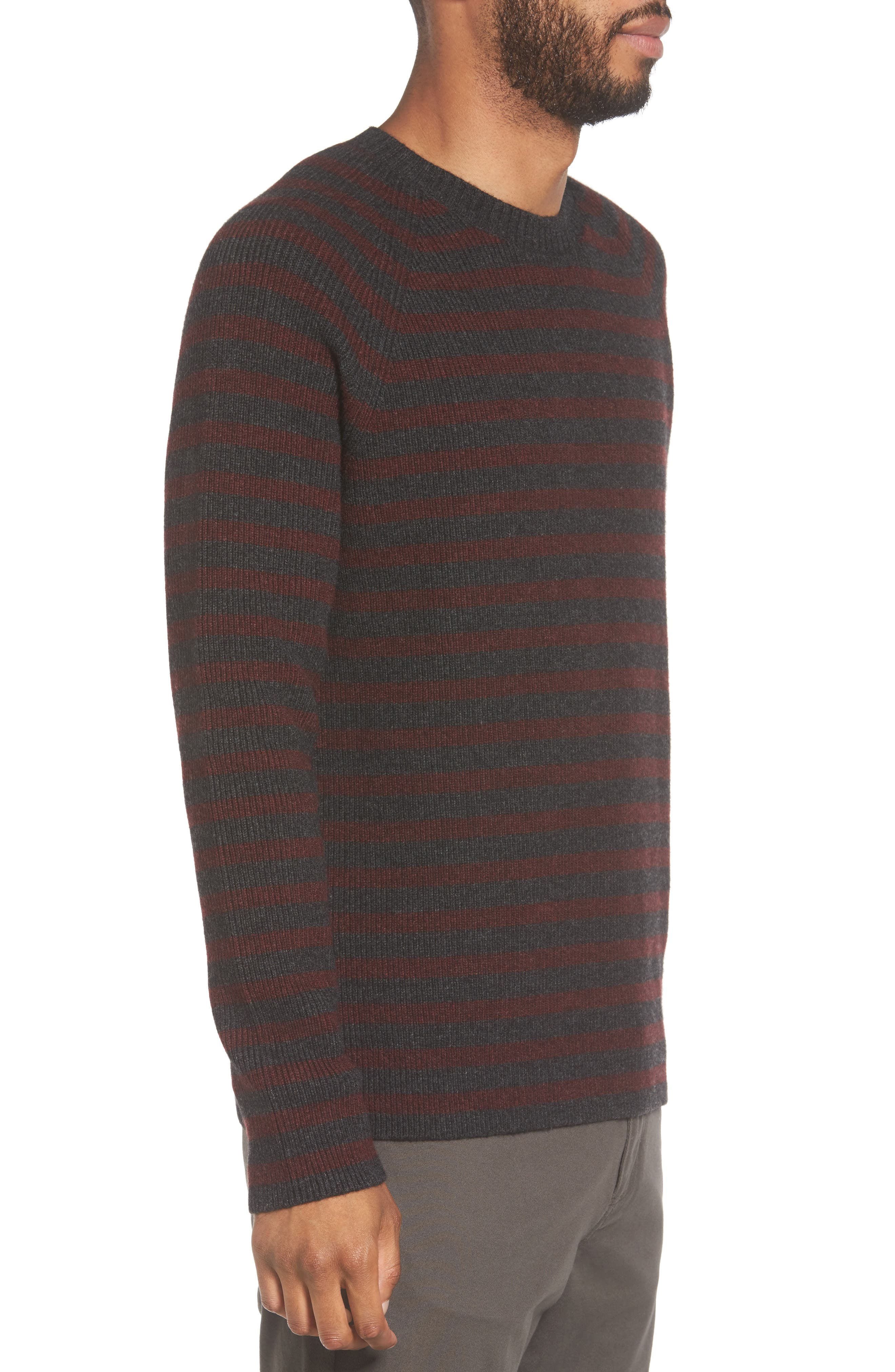 Stripe Wool & Cashmere Sweater,                             Alternate thumbnail 3, color,                             093