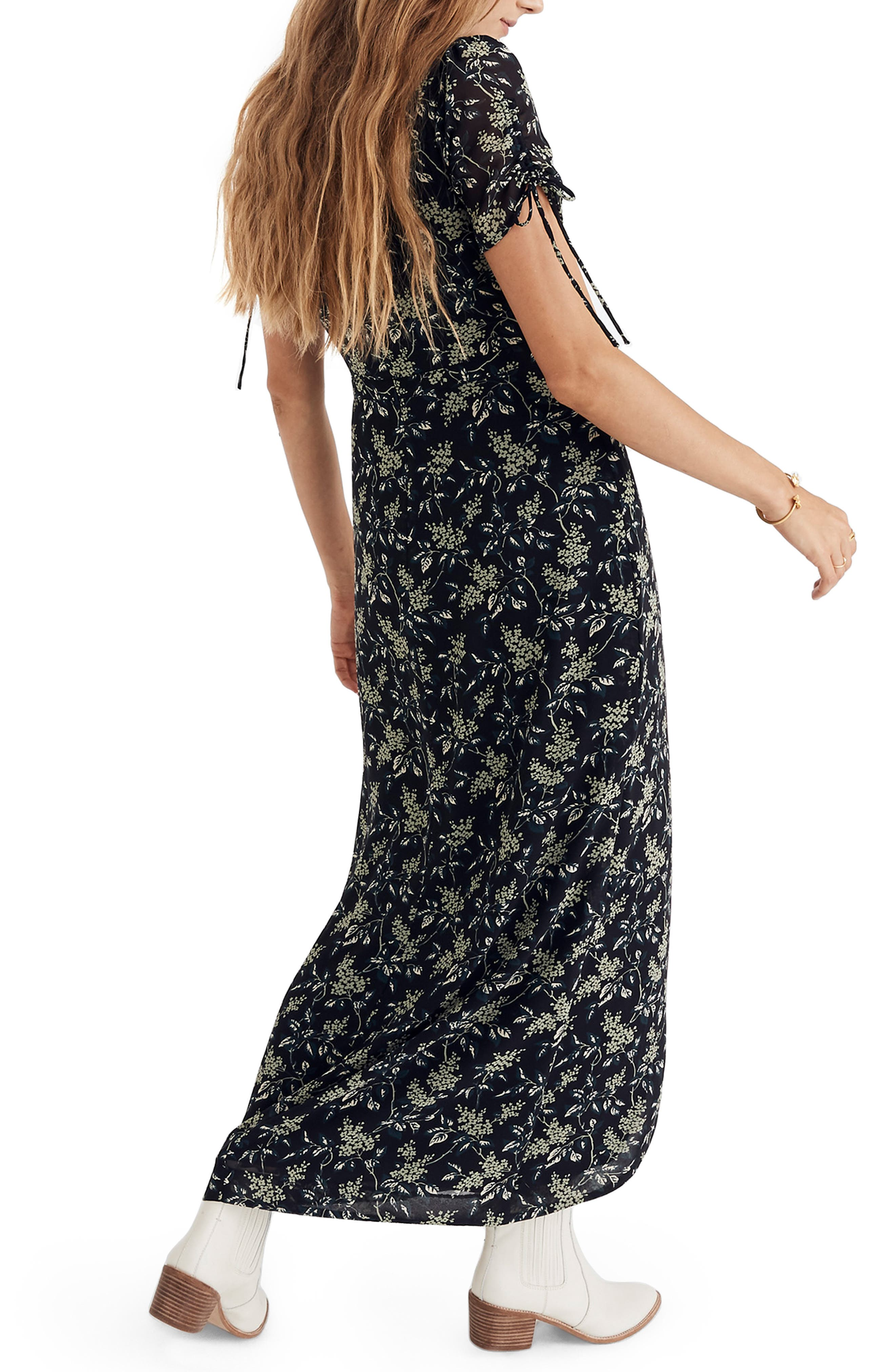 Tulip Sleeve Maxi Dress,                             Alternate thumbnail 2, color,                             CLASSIC BLACK