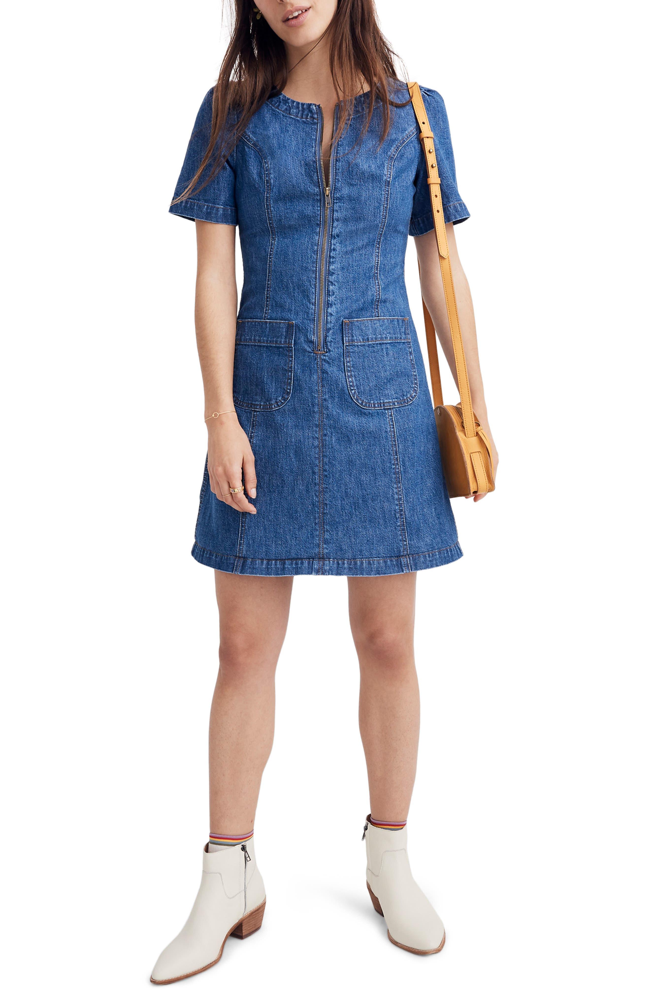 Madewell Denim A-Line Zip Front Dress, Blue