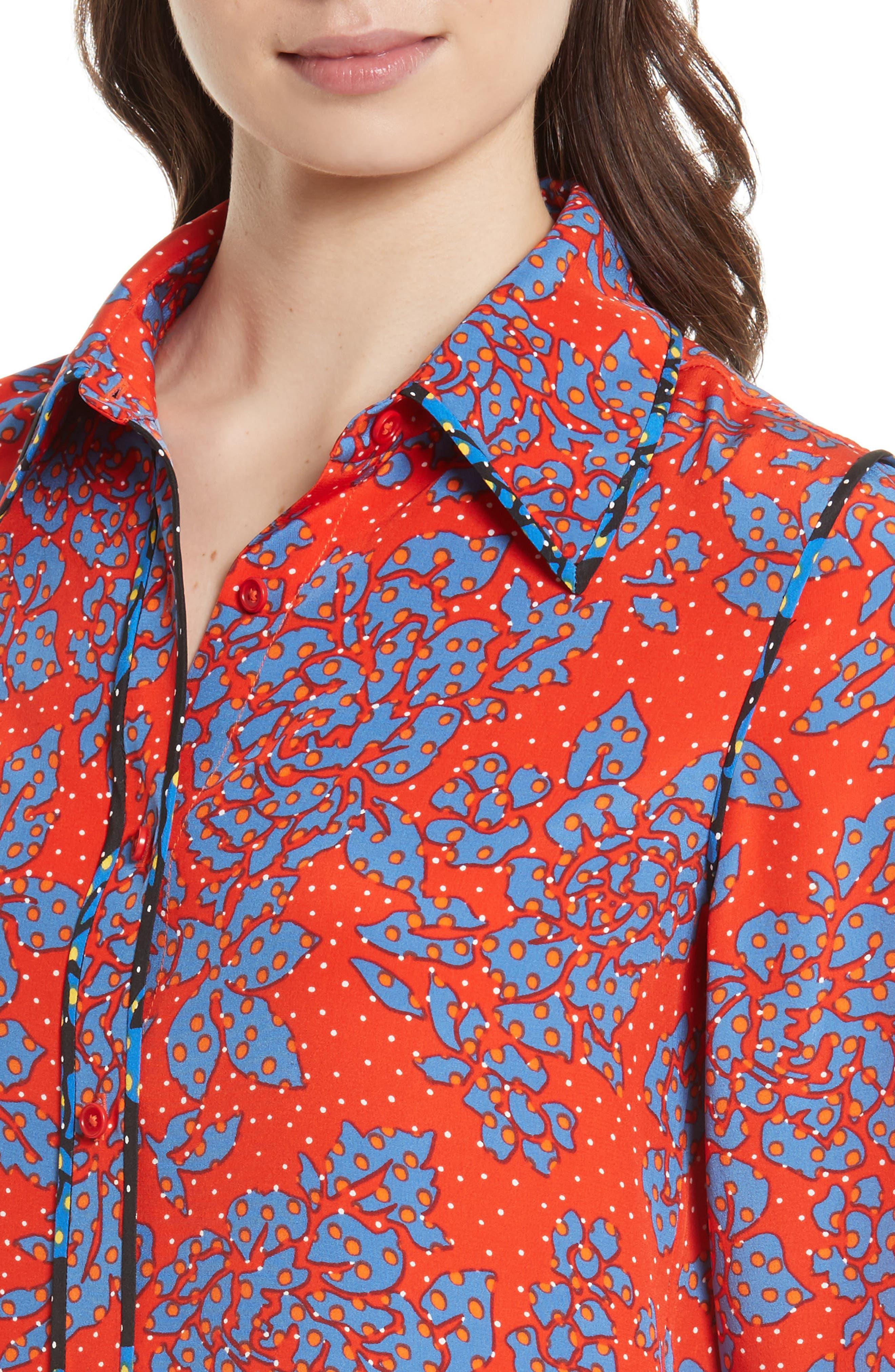 Print Silk Shirt,                             Alternate thumbnail 4, color,                             624