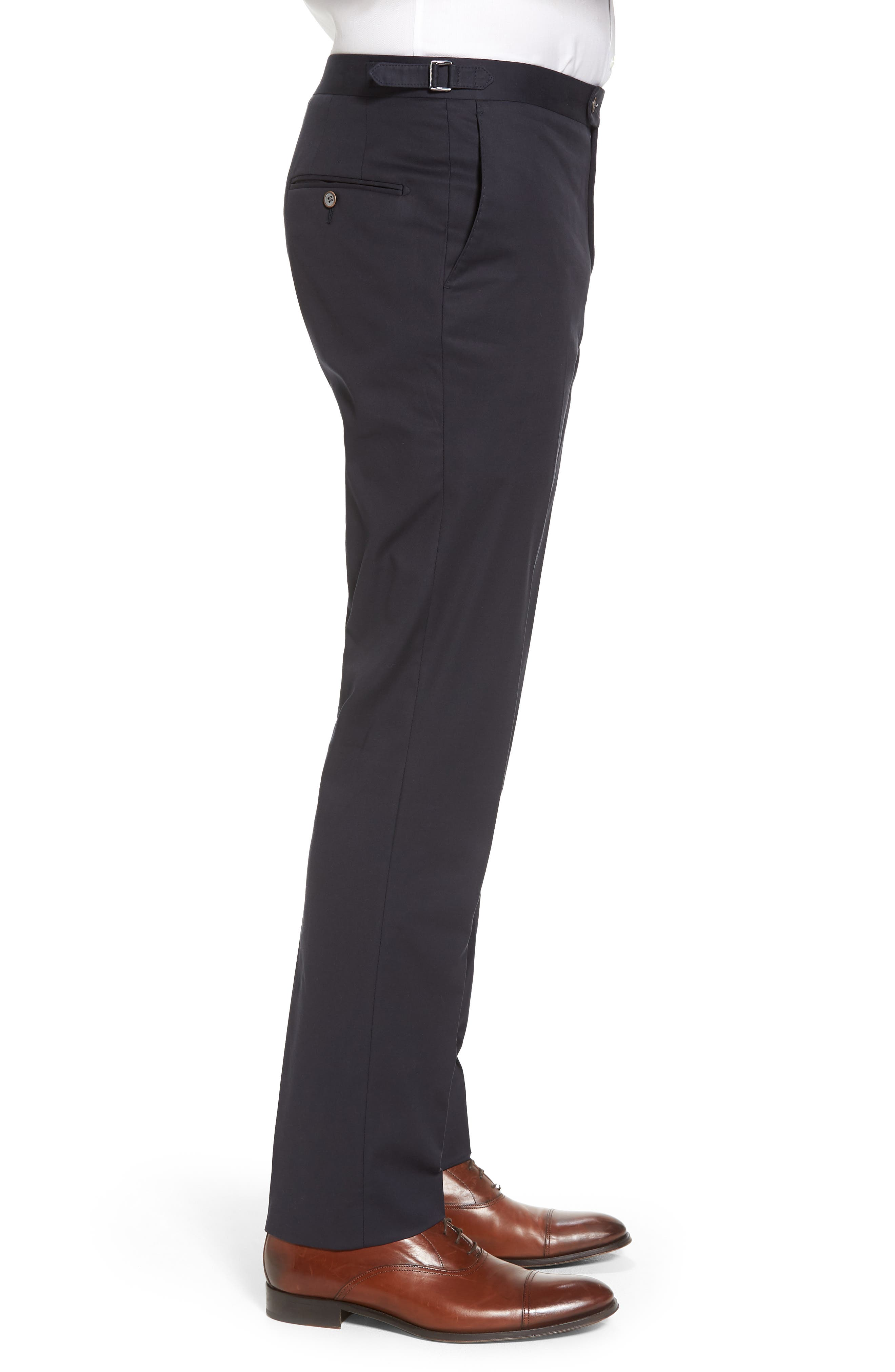 Flat Front Solid Stretch Cotton Trousers,                             Alternate thumbnail 3, color,                             410