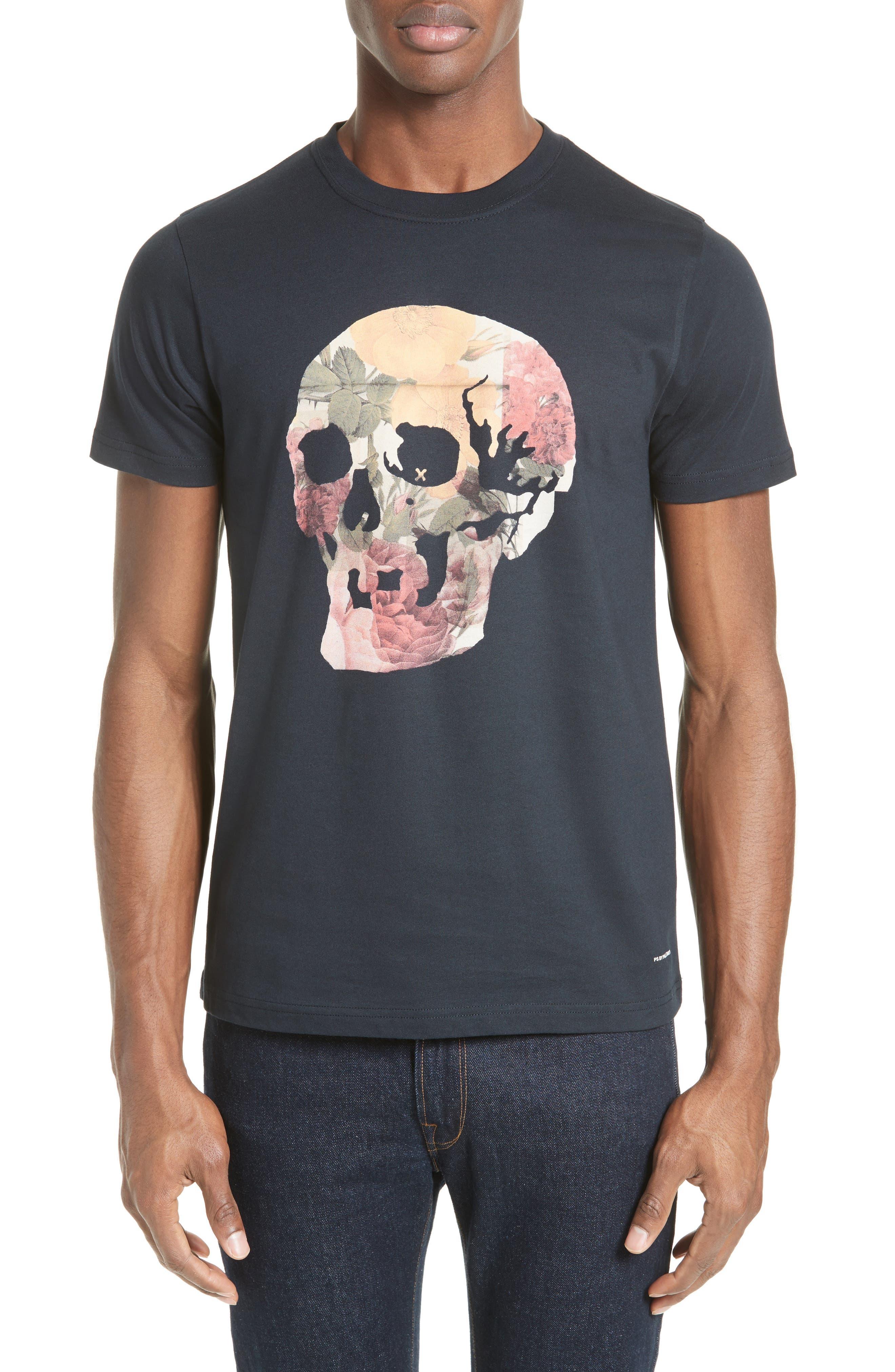 Skull Print T-Shirt,                         Main,                         color,