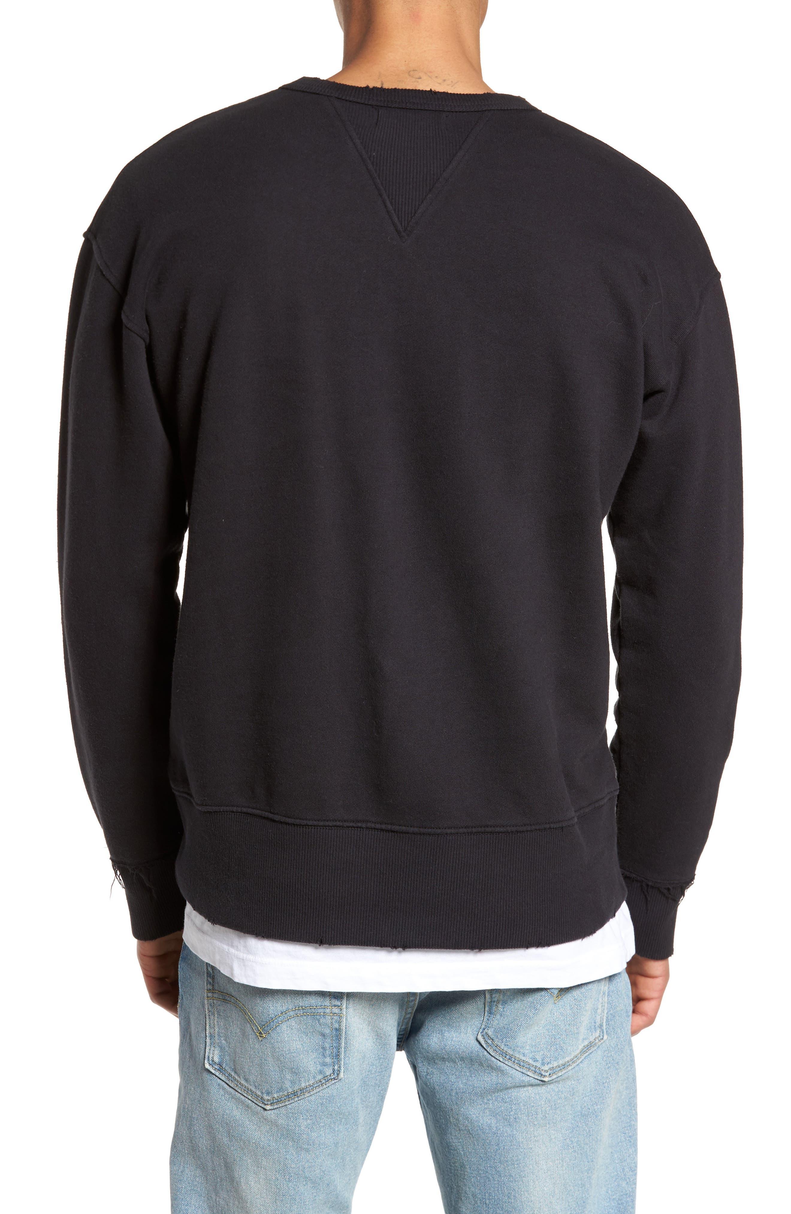 Distressed Sweatshirt,                             Alternate thumbnail 2, color,                             001