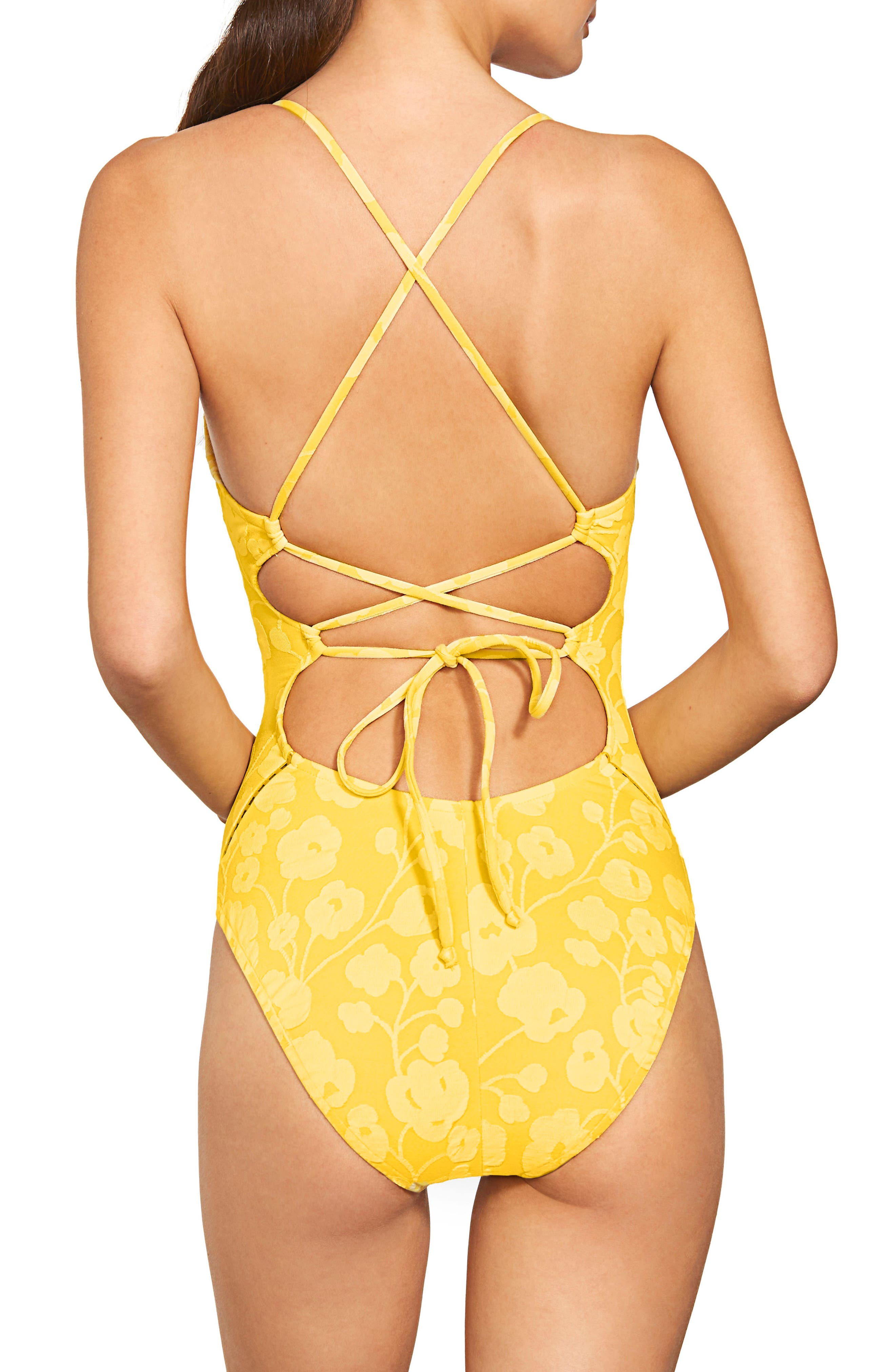 Tie Back One-Piece Swimsuit,                             Alternate thumbnail 2, color,                             MARIGOLD