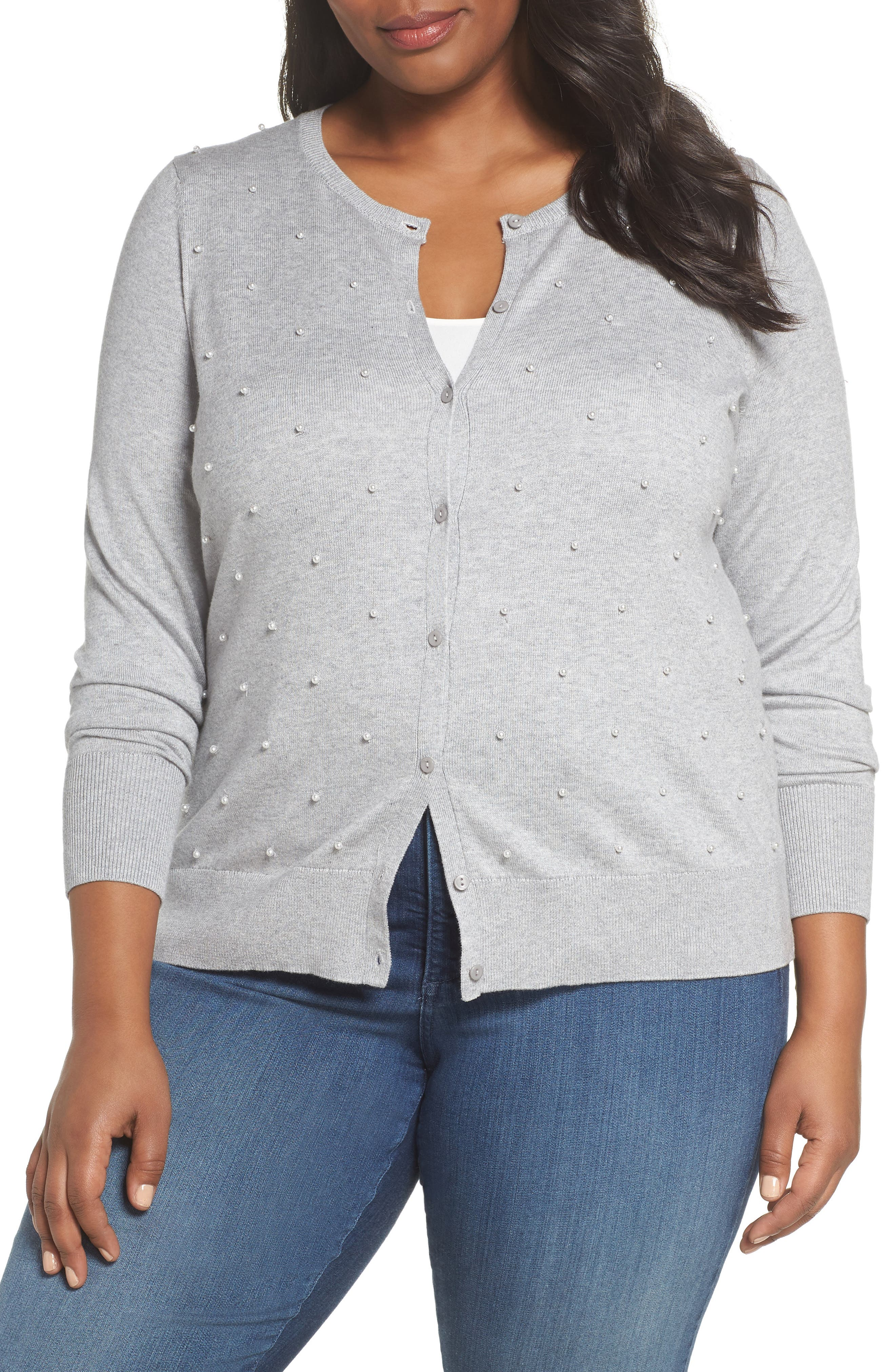 Beaded Front Cardigan,                         Main,                         color, GREY HEATHER
