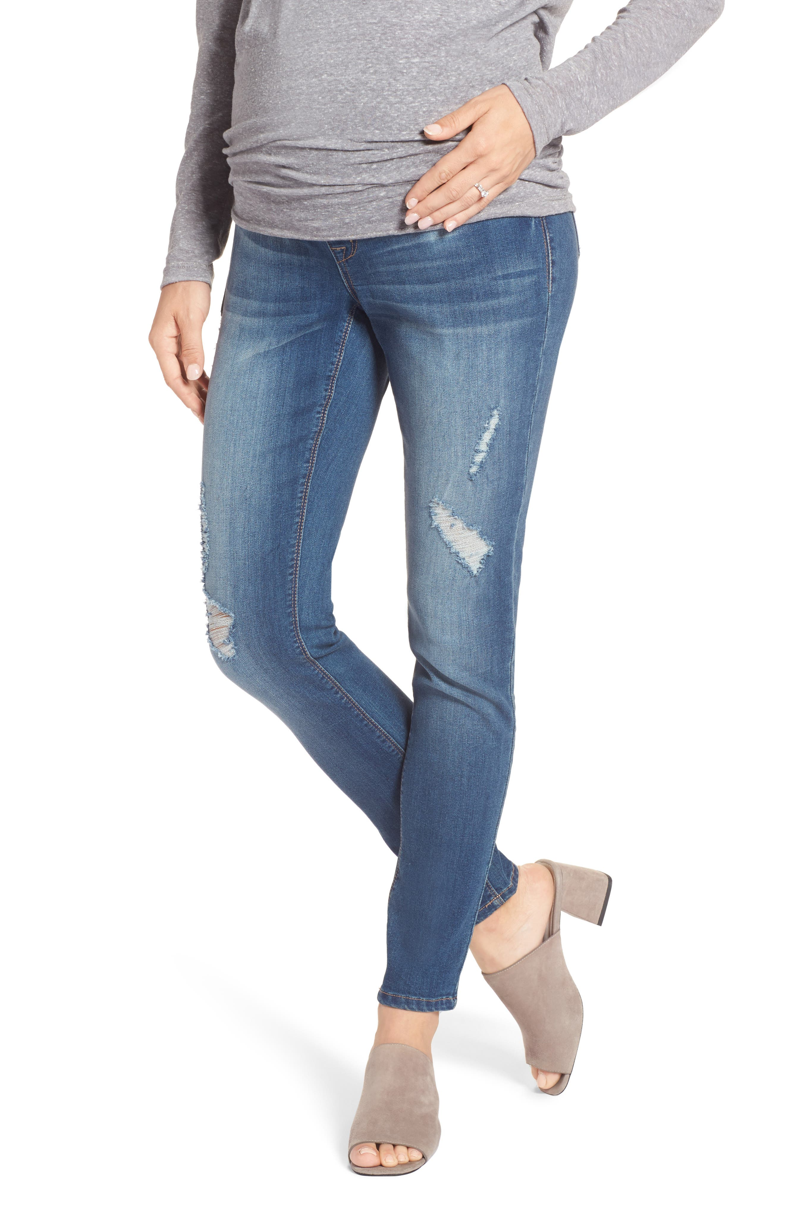 Destructed Maternity Skinny Jeans,                             Main thumbnail 1, color,                             IRENE