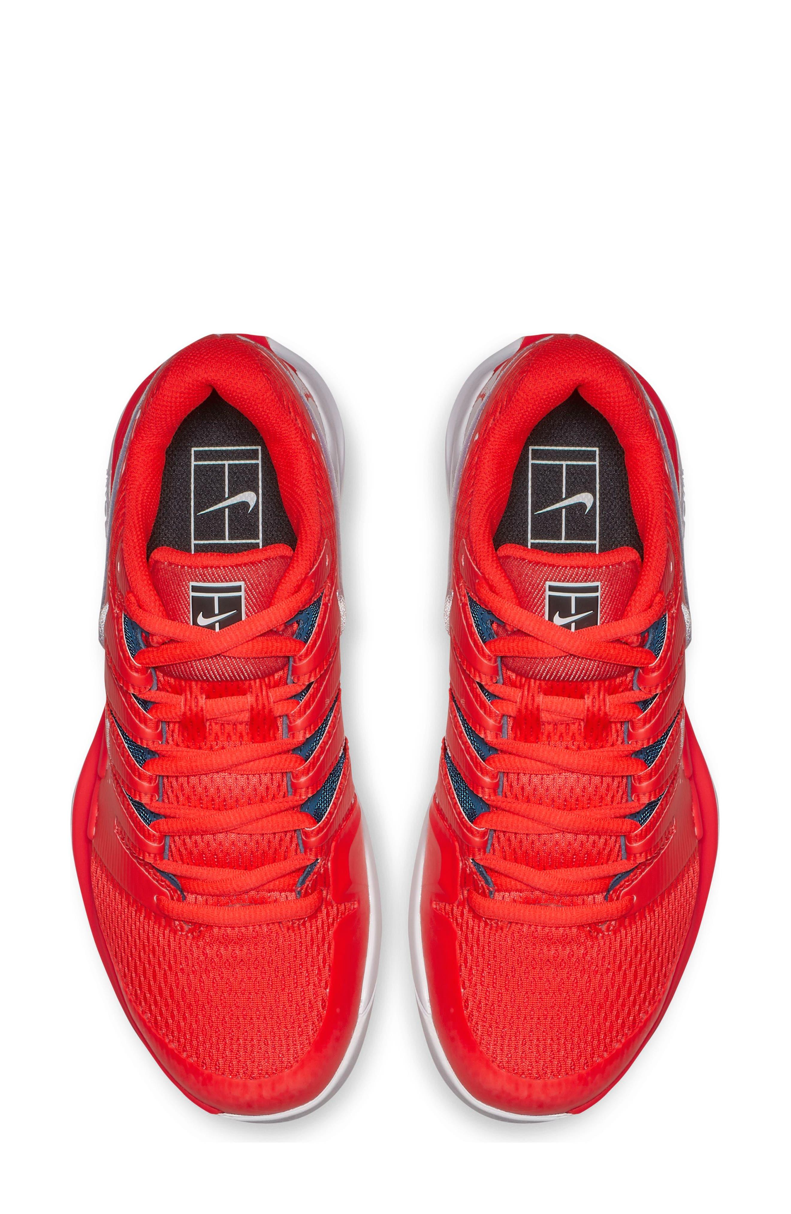 Air Zoom Vapor X Tennis Shoe,                             Alternate thumbnail 4, color,                             BRIGHT CRIMSON/ WHITE- BLUE